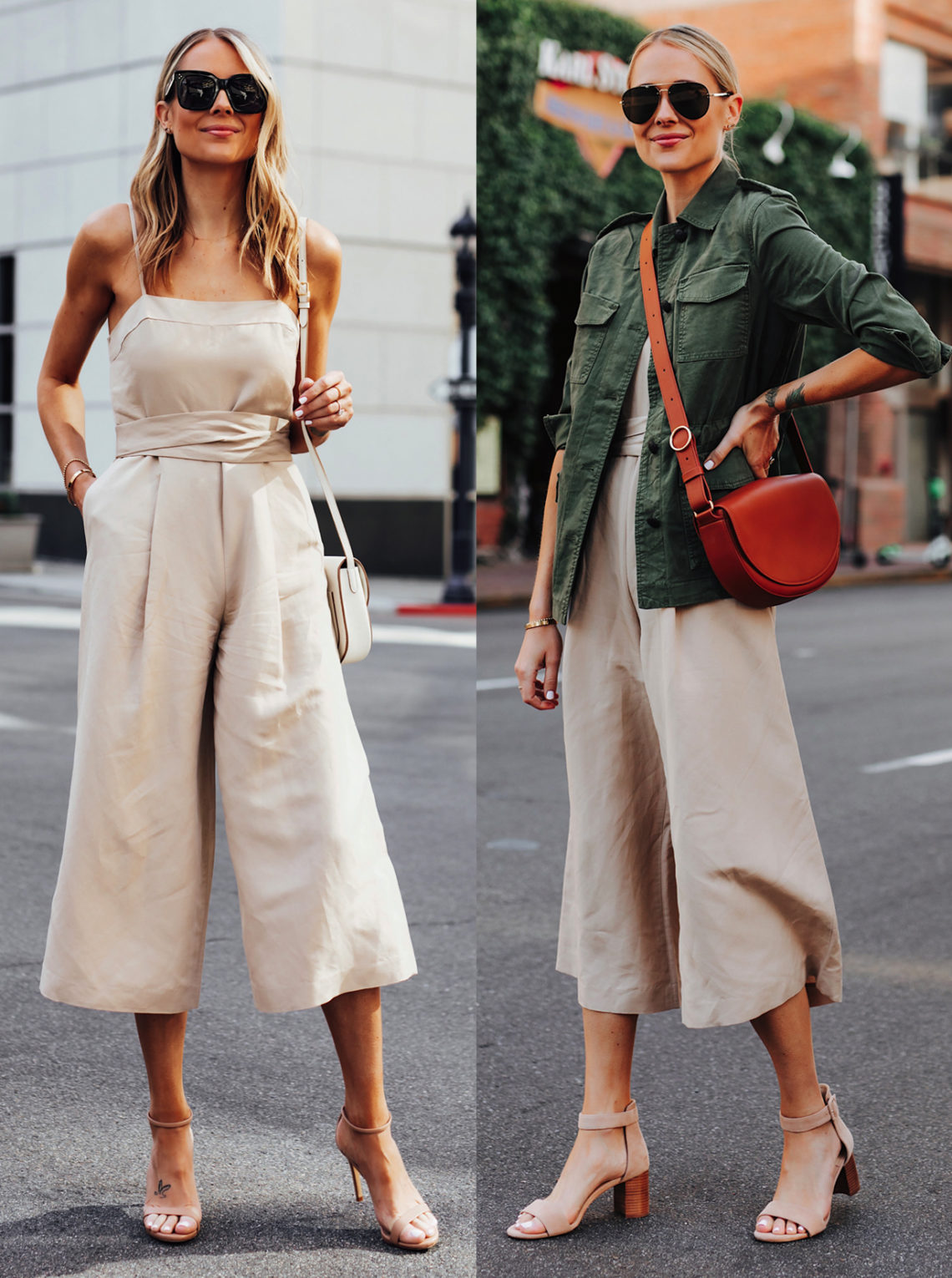 Fashion Jackson Wearing Banana Republic Beige Linen Jumpsuit Nude Ankle Strap Heels Featured Image 1
