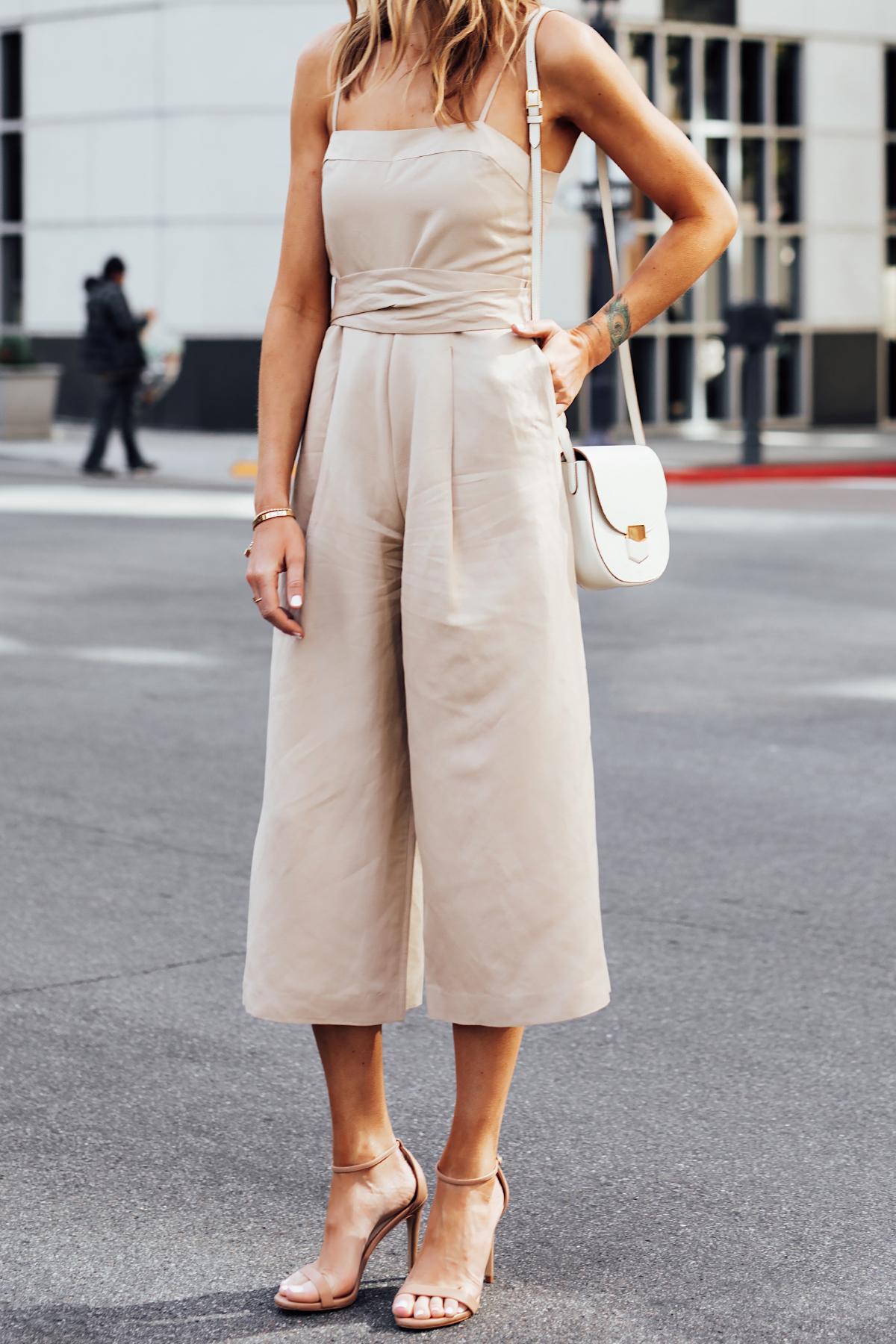 Blonde Woman Wearing Banana Republic Beige Linen Jumpsuit Nude Ankle Strap Heels White Handbag Fashion Jackson San Diego Fashion Blogger Street Style