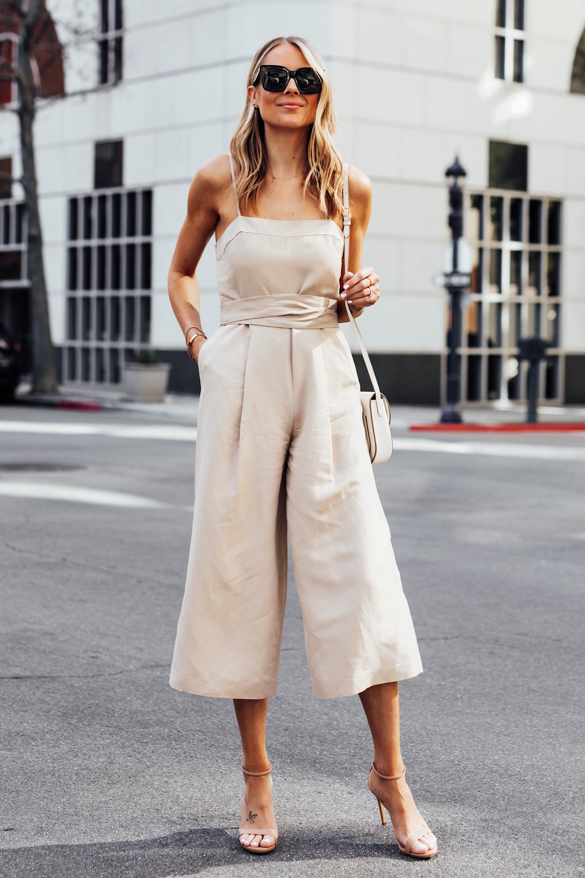 Blonde Woman Wearing Banana Republic Beige Linen Jumpsuit Nude Ankle Strap Heels Fashion Jackson San Diego Fashion Blogger Street Style