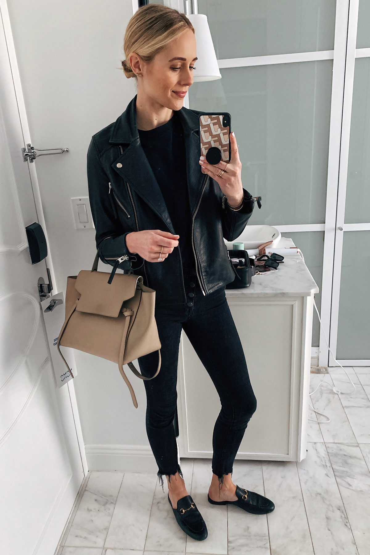 Fashion Jackson Wearing Black Leather Jacket Black Tshirt Black Skinny Jeans Gucci Princetown Black Mules Celine Mini Belt Bag
