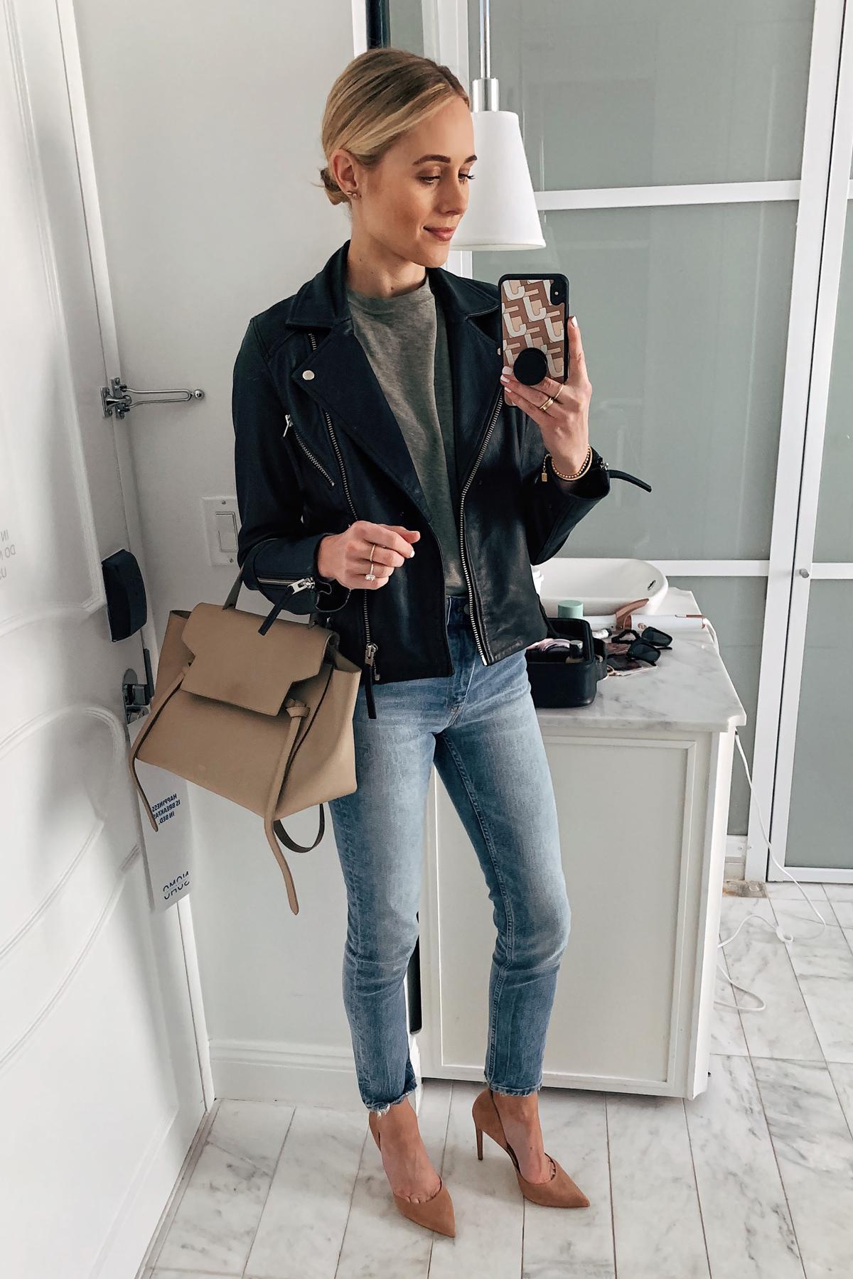 Fashion Jackson Wearing Black Leather Jacket Green Tshirt Denim Skinny Jeans Tan Pumps Celine Mini Belt Bag