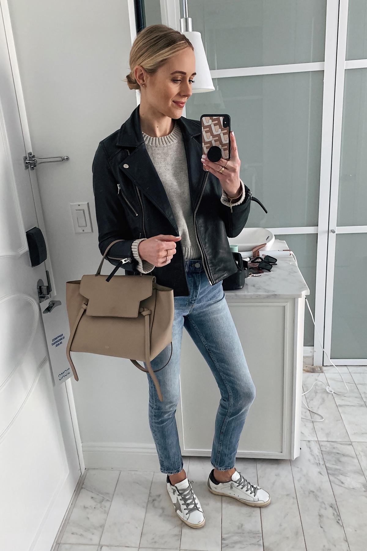 Fashion Jackson Wearing Black Leather Jacket Grey Sweater Denim Skinny Jeans Golden Goose Sneakers Celine Mini Belt Bag