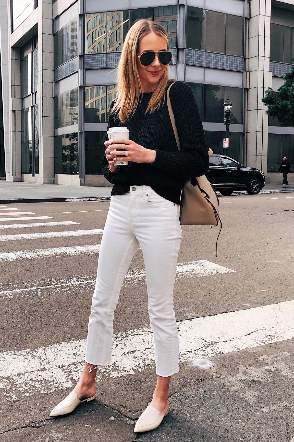 Fashion Jackson Wearing Black Sweater White Cropped Jeans Beige Mules