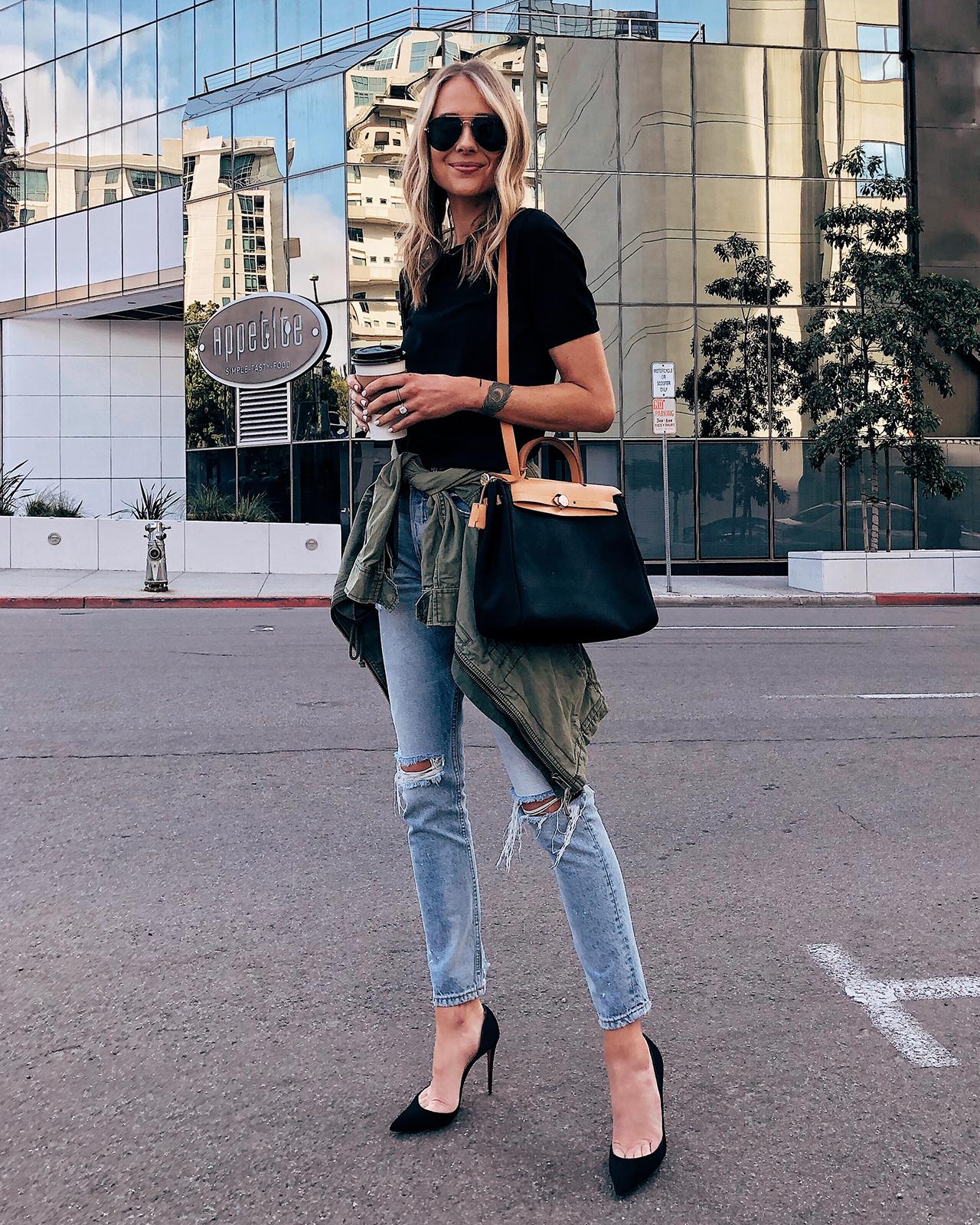 Fashion Jackson Wearing Black Top Ripped Skinny Jeans Green Utility Jacket Black Heels Hermes Herbag