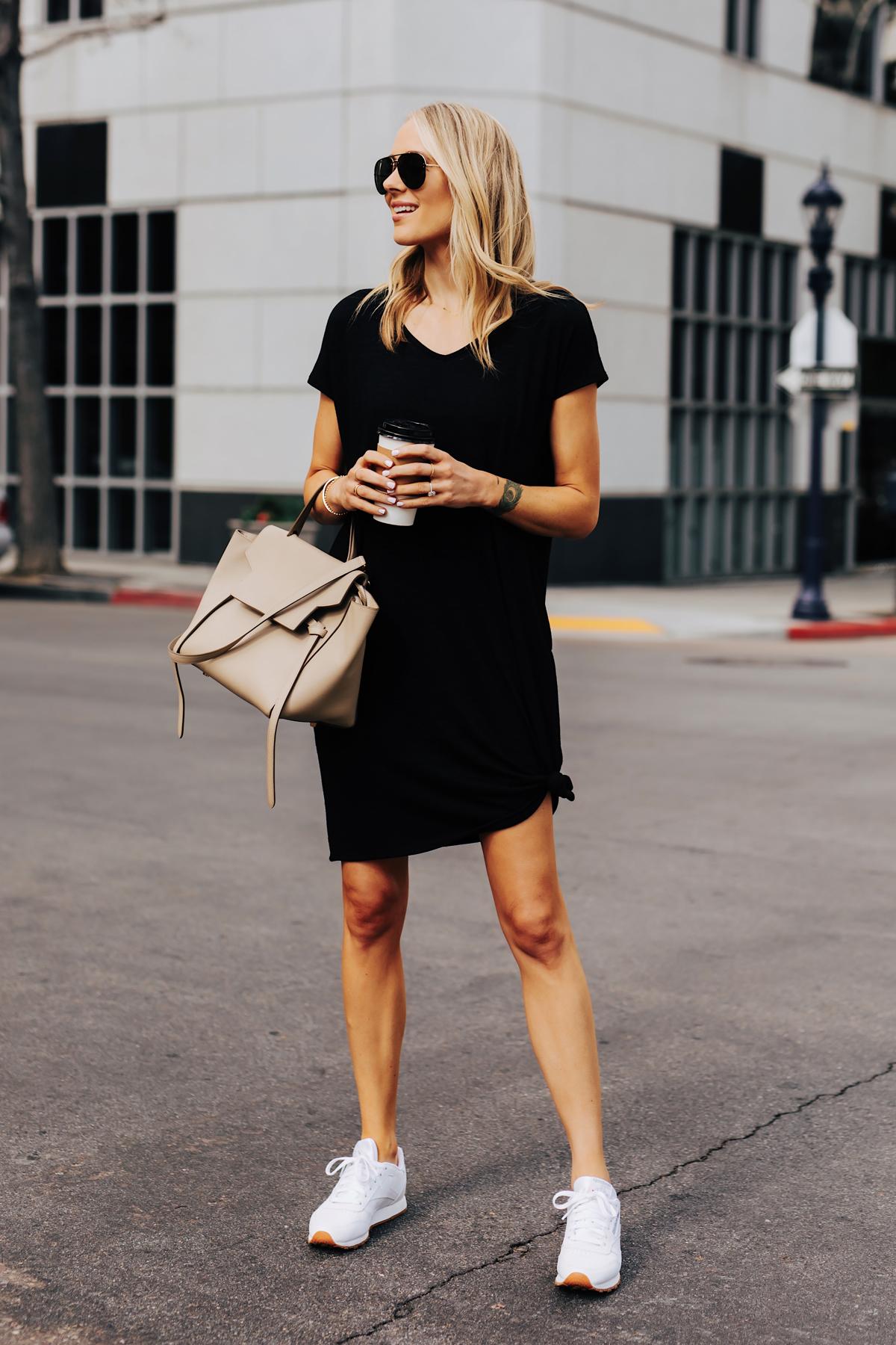 Blonde Woman Wearing Black Tshirt Dress Reebok Classic White Sneakers Celine Mini Belt Bag Fashion Jackson San Diego Fashion Blogger Street Style