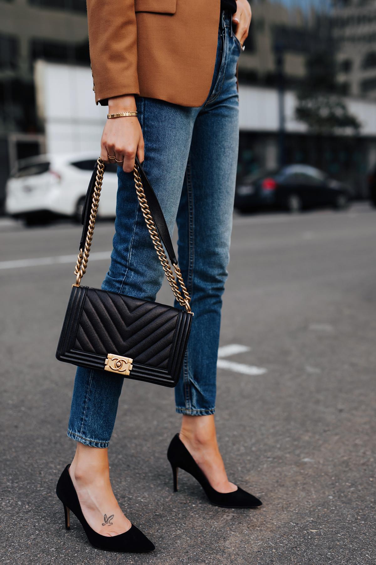 Woman Wearing Camel Blazer Denim Skinny Jeans Black Pumps Chanel Black Boy Bag Fashion Jackson San Diego Fashion Blogger Street Style