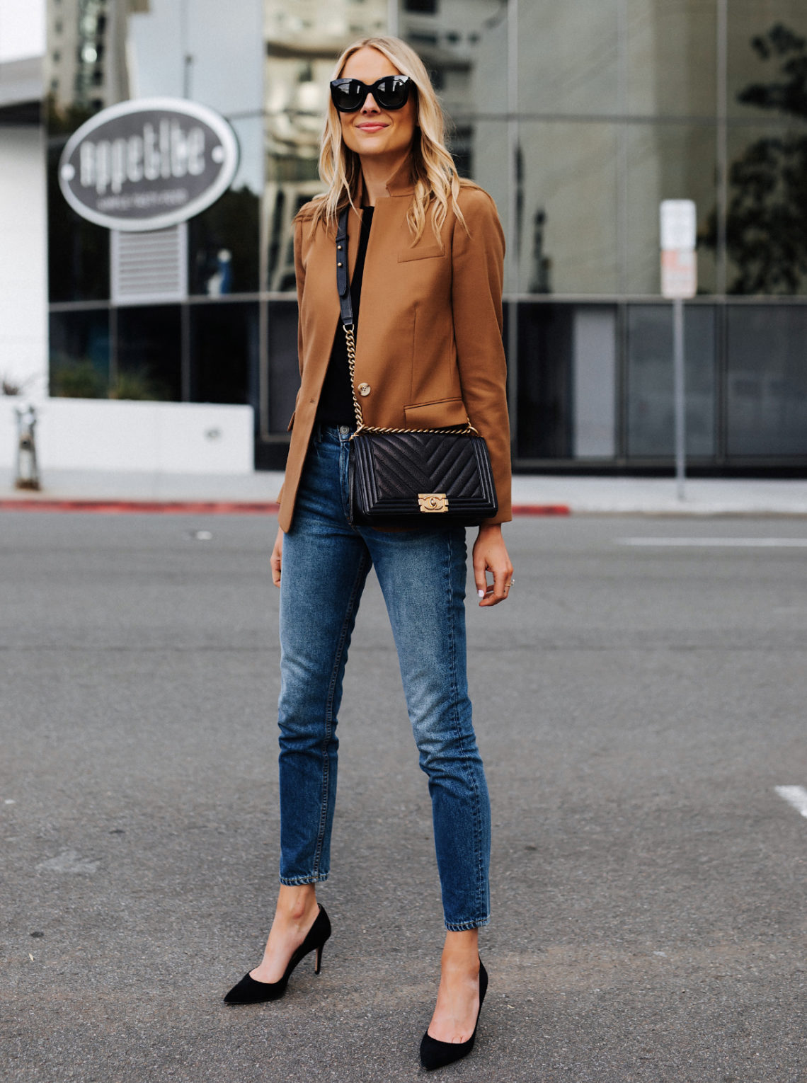 Blonde Woman Wearing Camel Blazer Denim Skinny Jeans Black Pumps eBay Authenticate Chanel Black Boy Bag Featured Image Fashion Jackson San Diego Fashion Blogger Street Style