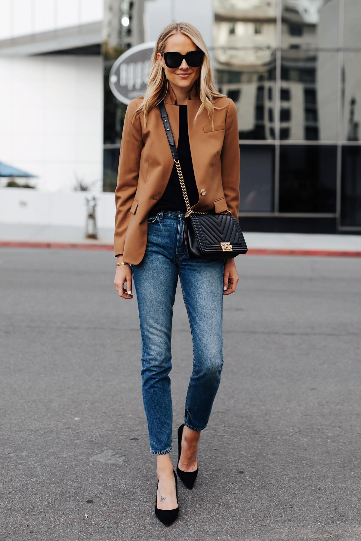 Blonde Woman Wearing Camel Blazer Denim Skinny Jeans Black Pumps eBay Authenticate Chanel Black Boy Bag Fashion Jackson San Diego Fashion Blogger Street Style