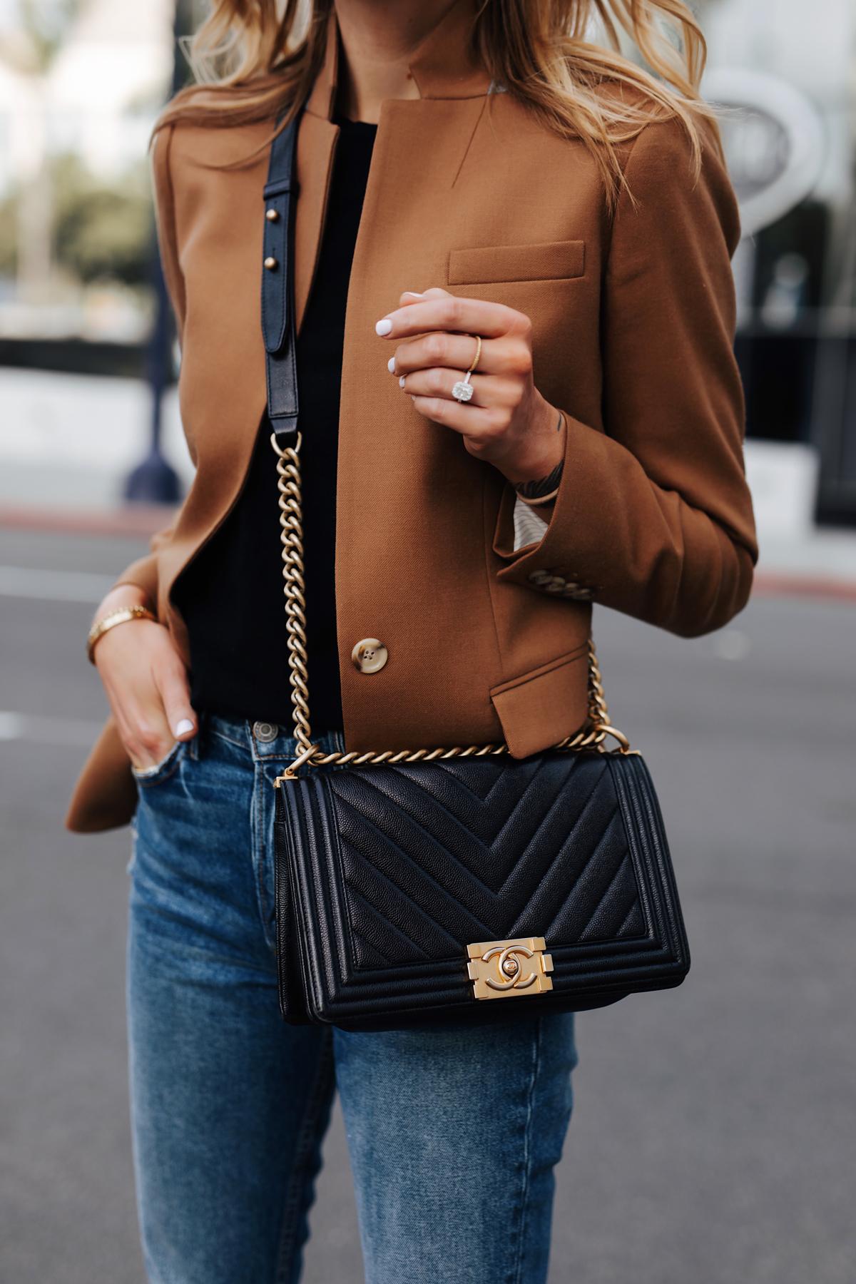 Blonde Woman Wearing Camel Blazer Denim Skinny Jeans Chanel Black Boy Bag Fashion Jackson San Diego Fashion Blogger Street Style