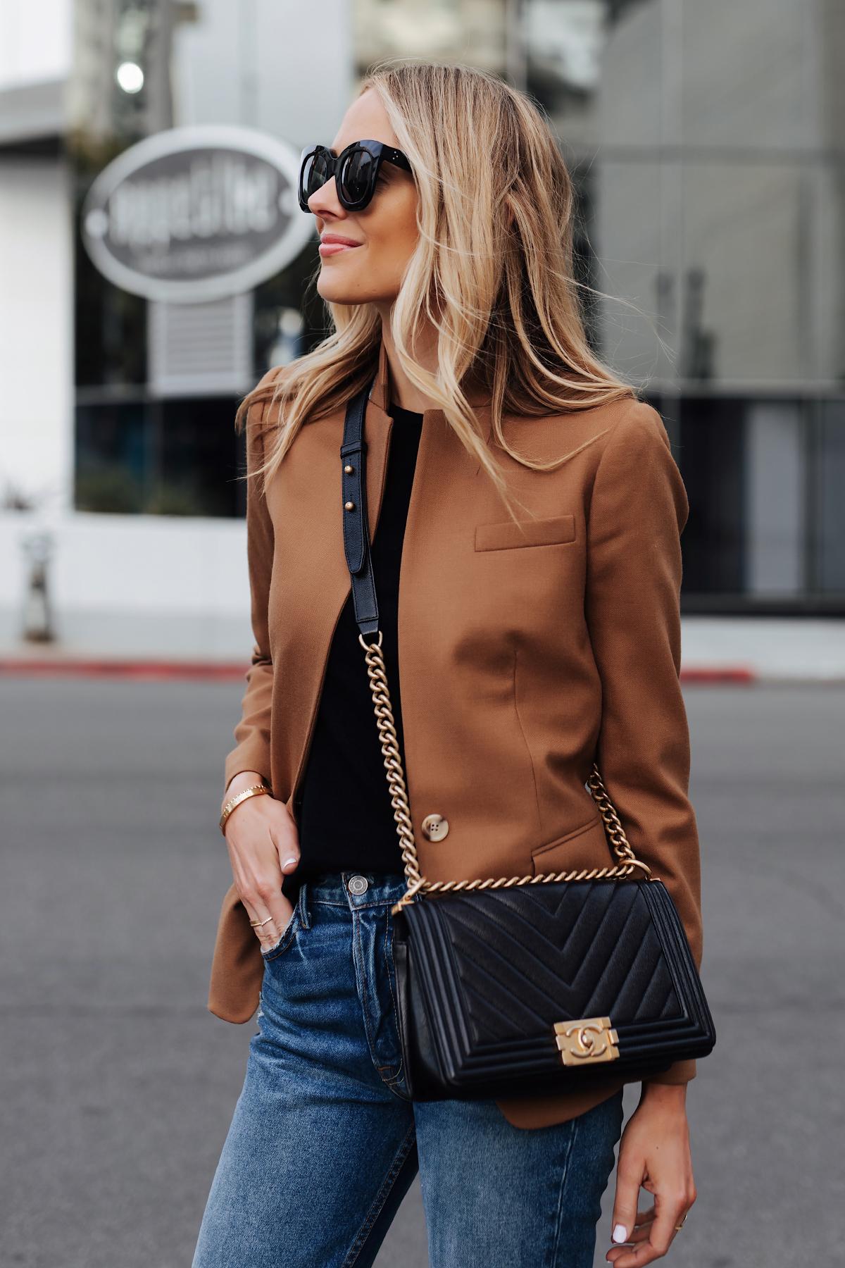 Blonde Woman Wearing Camel Blazer eBay Authenticate Chanel Black Boy Bag Fashion Jackson San Diego Fashion Blogger Street Style