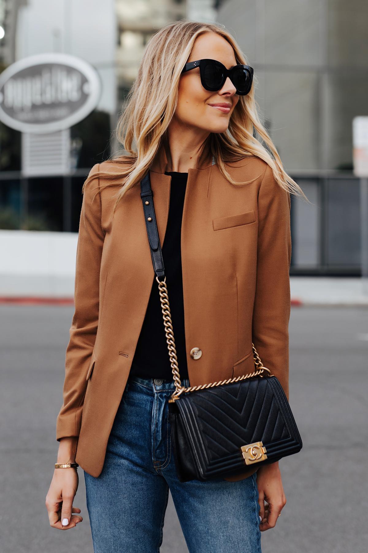 Blonde Woman Wearing Camel Blazer eBay Authenticate Chanel Black Boy Bag Denim Skinny Jeans Fashion Jackson San Diego Fashion Blogger Street Style