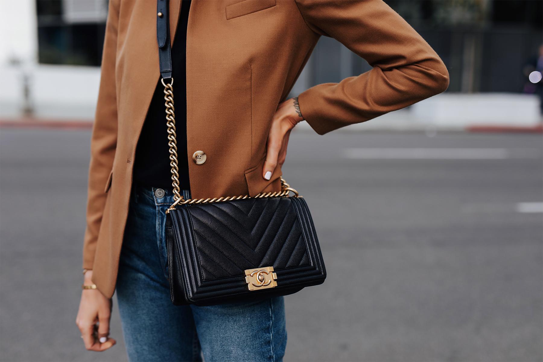 Woman Wearing Camel Blazer eBay Authenticate Chanel Black Boy Bag Fashion Jackson San Diego Fashion Blogger Street Style