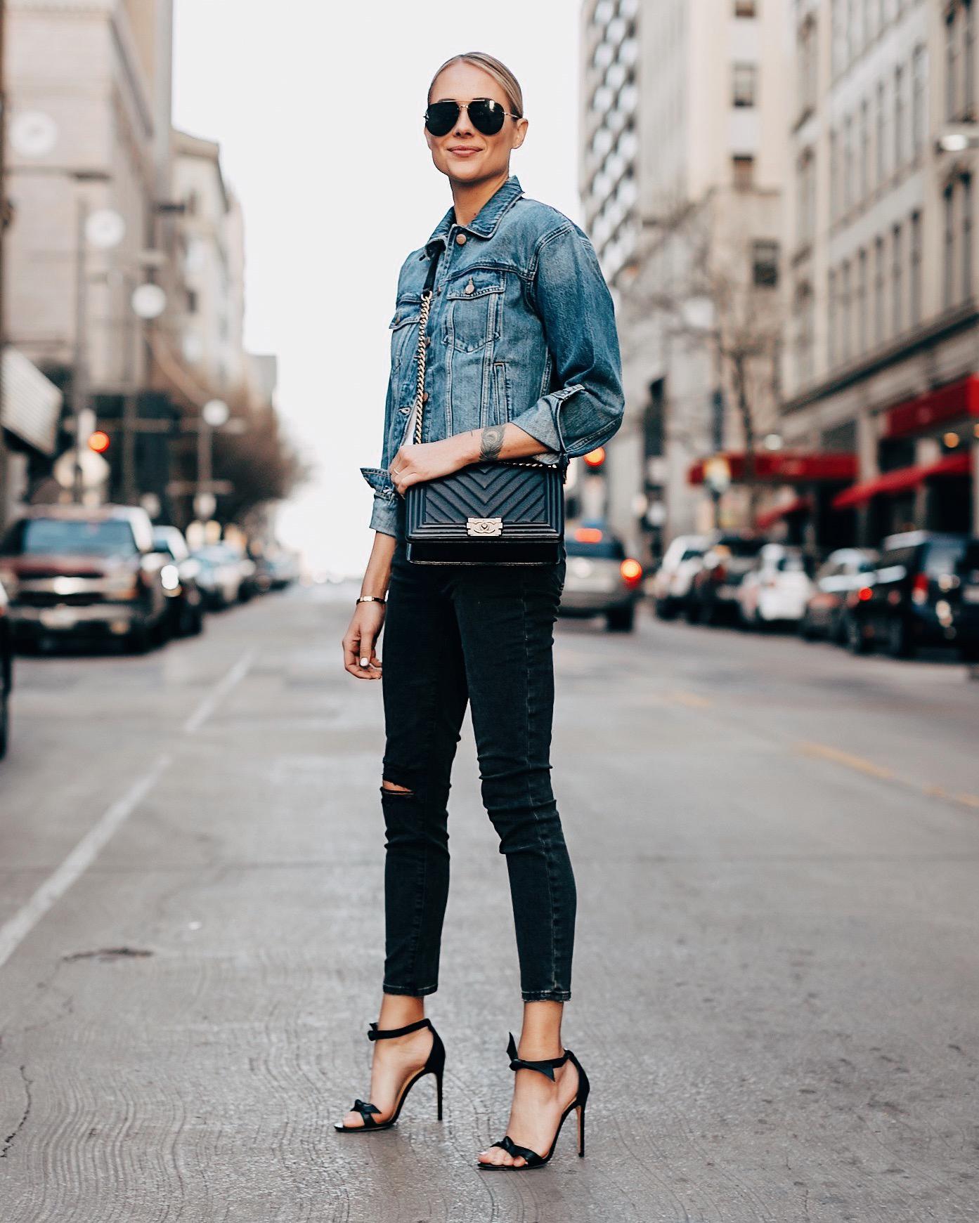 Fashion Jackson Wearing Denim Jacket Black Skinny Jeans Alexandre Birman Black Heels