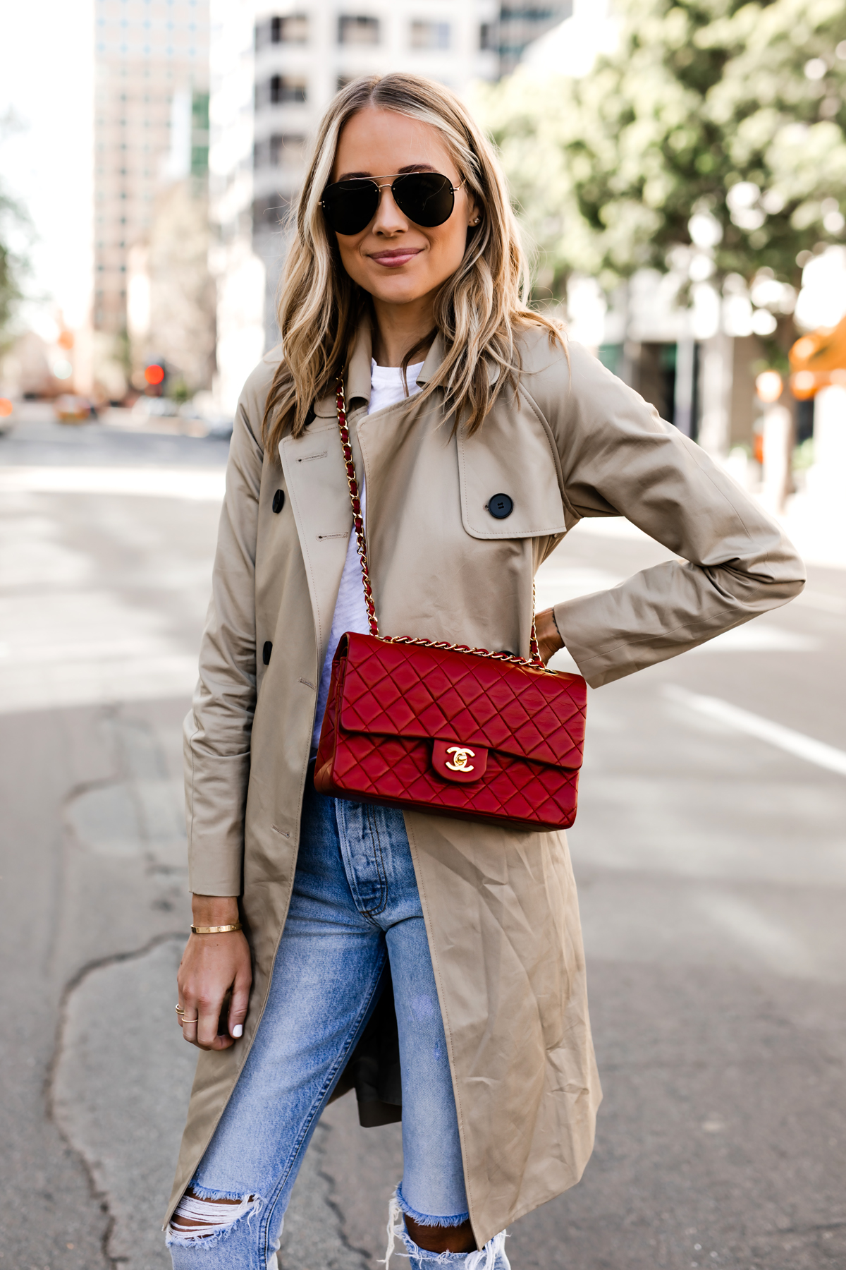Blonde Woman Wearing Everlane Trench Coat Red Chanel Handbag Ripped Jeans Fashion Jackson San Diego Fashion Blogger Street Style