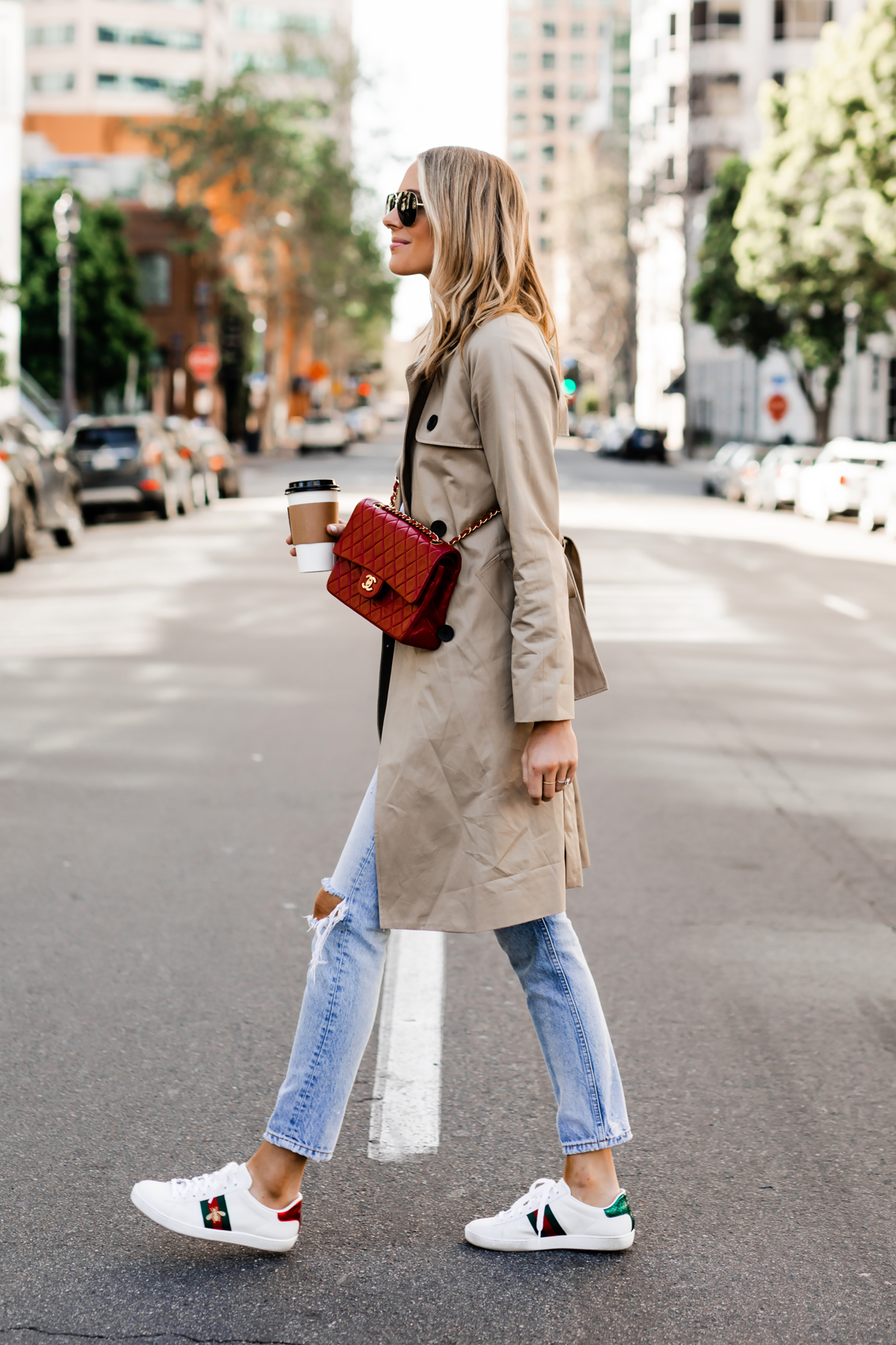 Fashion Jackson Wearing Everlane Trench Coat Ripped Jeans Gucci Ace Embroidered Sneakers Red Chanel Handbag Fashion Jackson San Diego Fashion Blogger Street Style