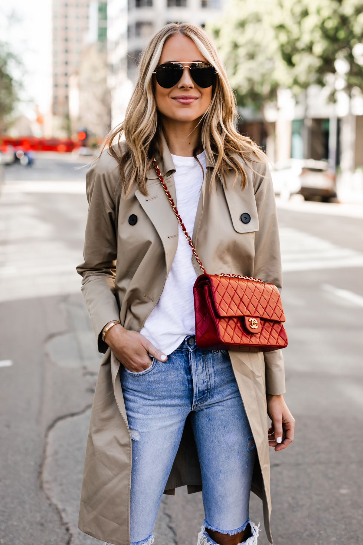 Blonde Woman Wearing Everlane Trench Coat White Tshirt Red Chanel Handbag Ripped Jeans Fashion Jackson San Diego Fashion Blogger Street Style