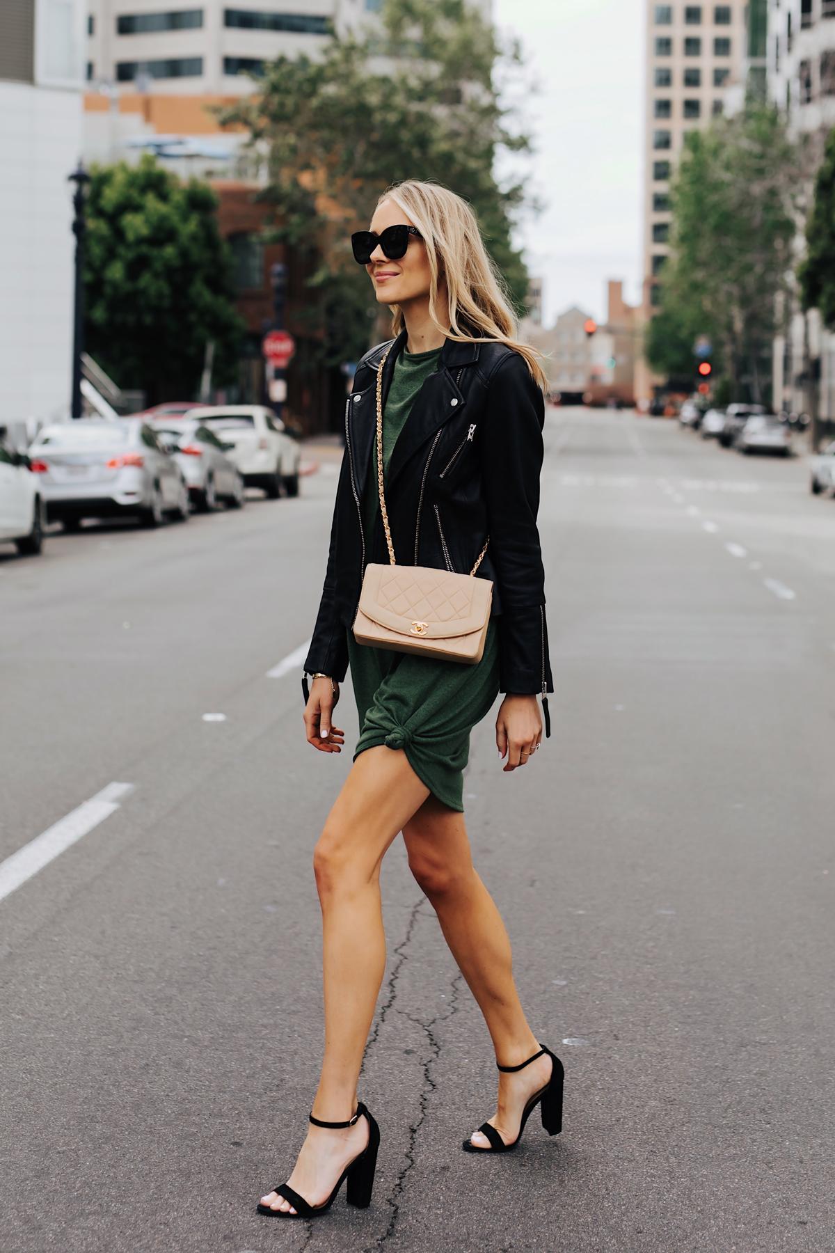 Blonde Woman Wearing Green Tshirt Dress Black Leather Jacket Black Heeled Sandals Chanel Beige Crossbody Fashion Jackson San Diego Fashion Blogger Street Style
