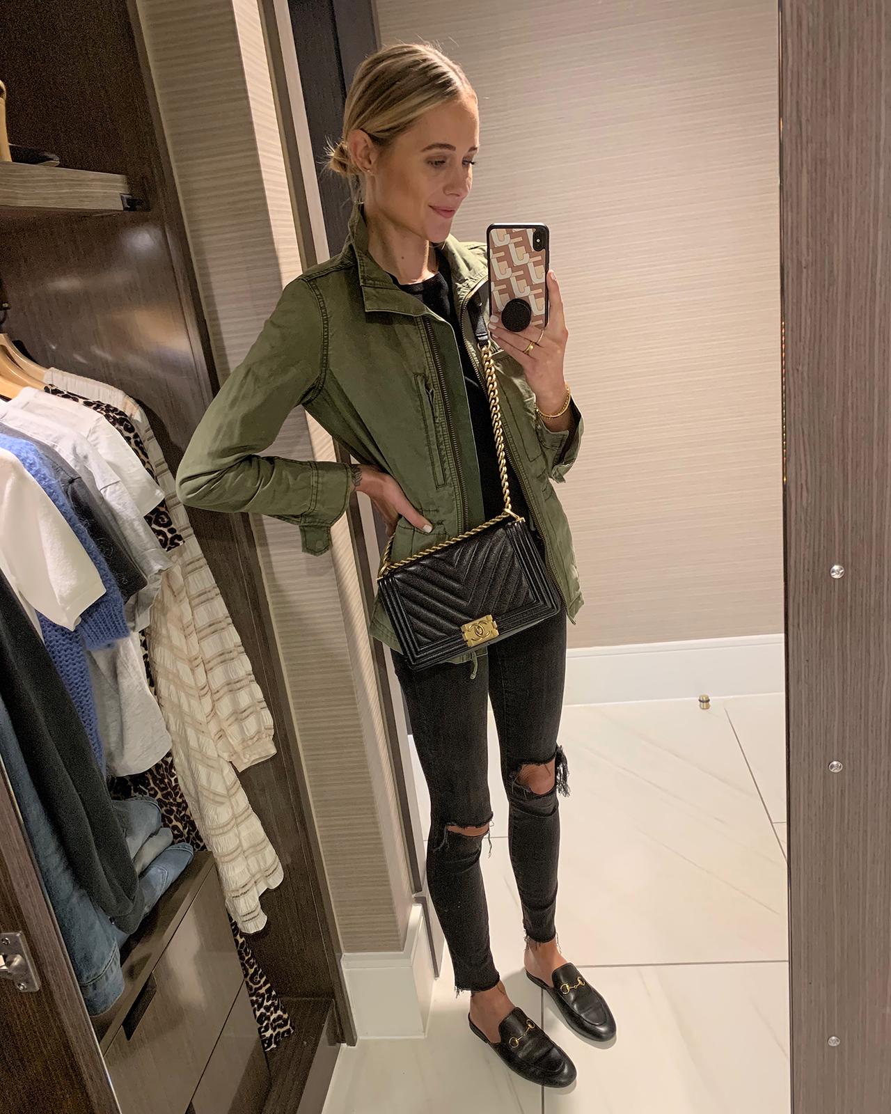 Fashion Jackson Wearing Green Utility Jacket Black Top Denim Ripped Skinny Jeans Gucci Ace Sneakers Chanel Black Boy Bag