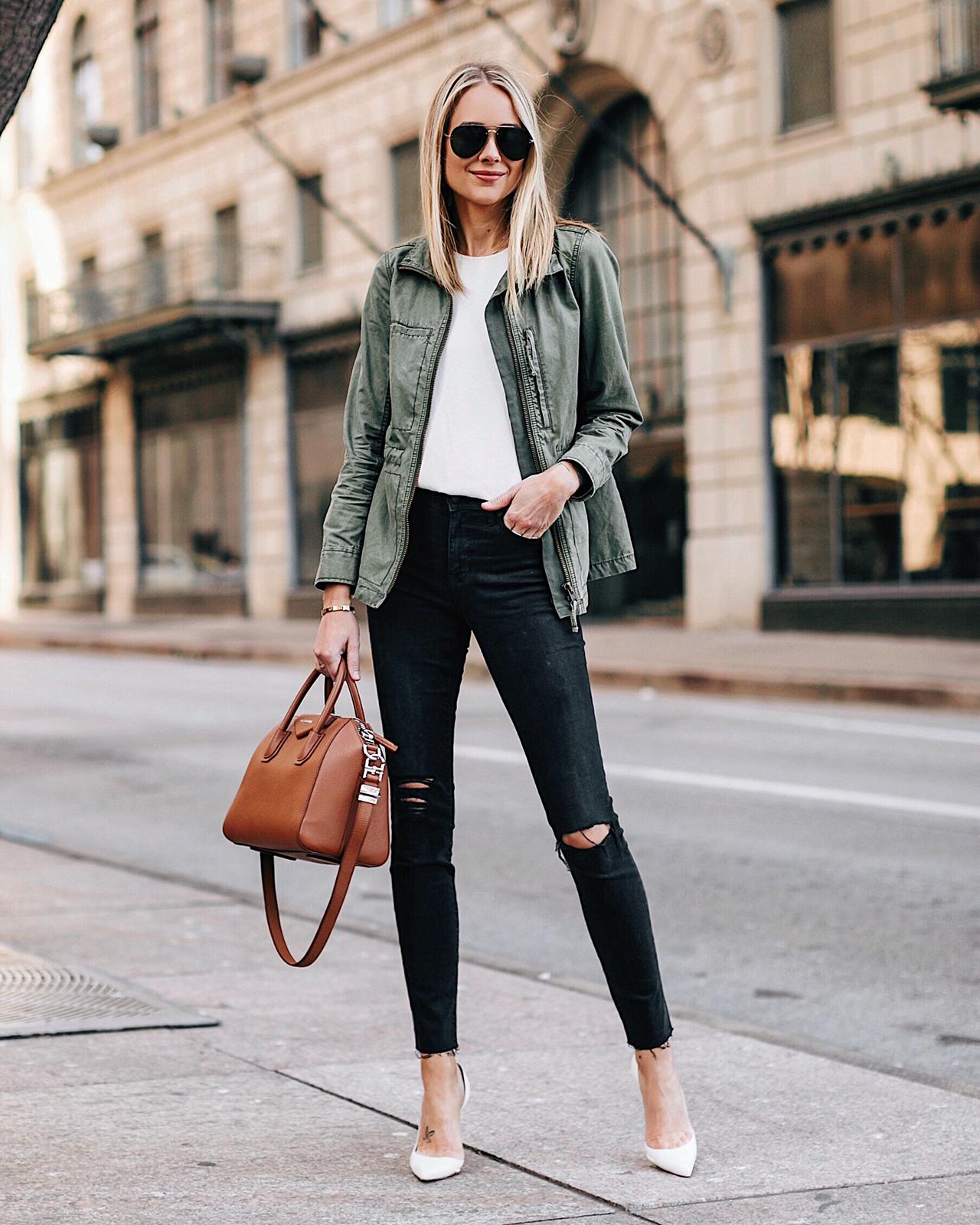 Fashion Jackson Wearing Green Utility Jacket White Top Black Ripped Skinny Jeans White Pumps