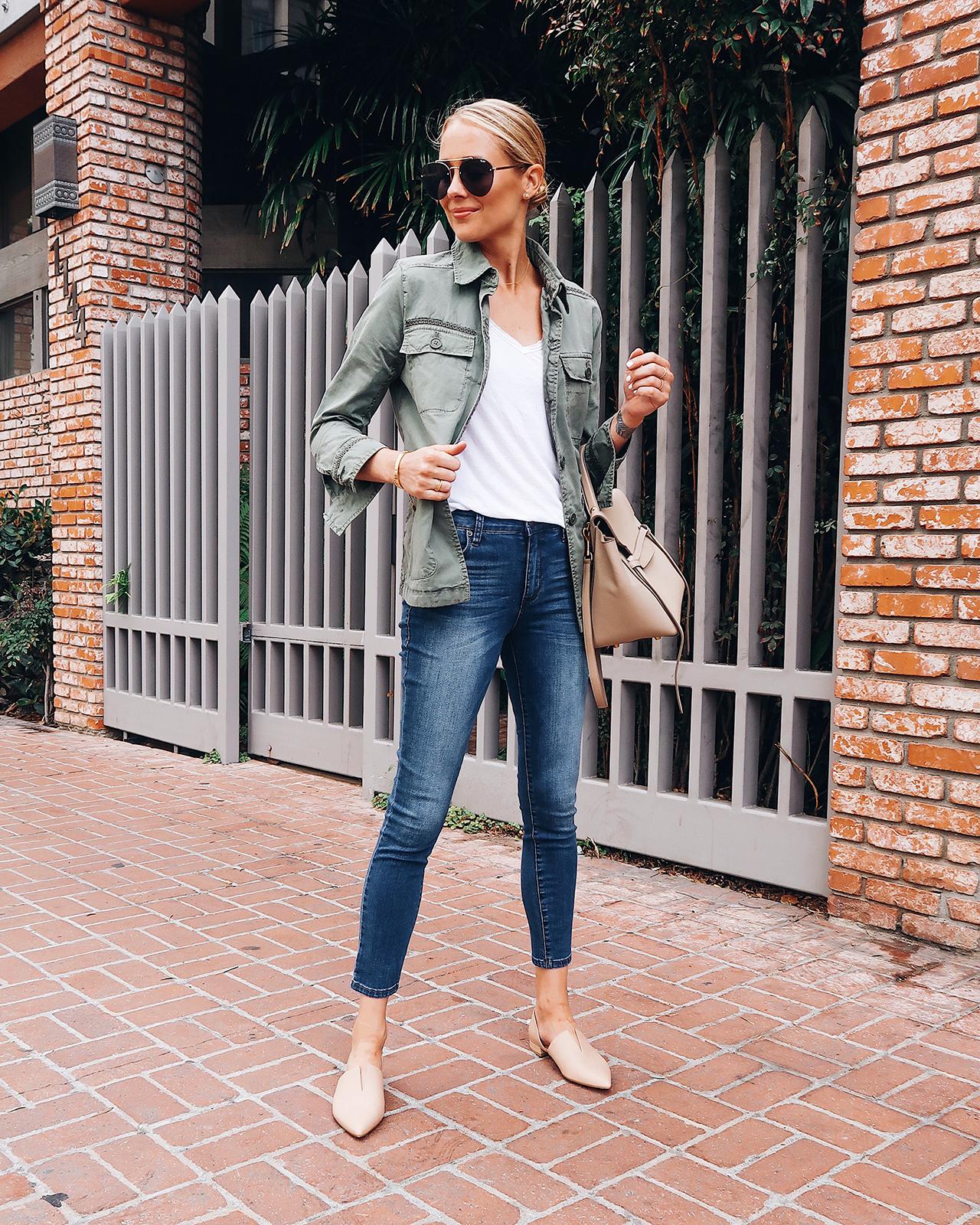 Fashion Jackson Wearing Green Utility Jacket White Tshirt Denim Skinny Jeans Nude Flats