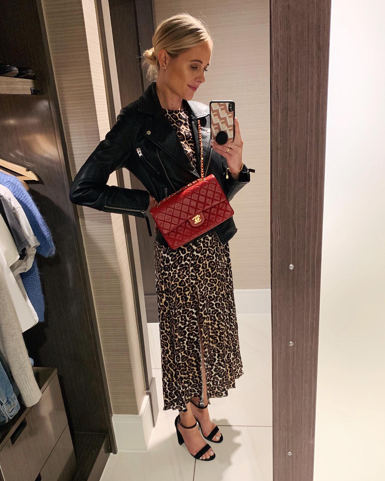 Fashion Jackson Wearing Leopard Midi Dress Black Leather Jacket Chanel Red Classic Bag Black Sandals