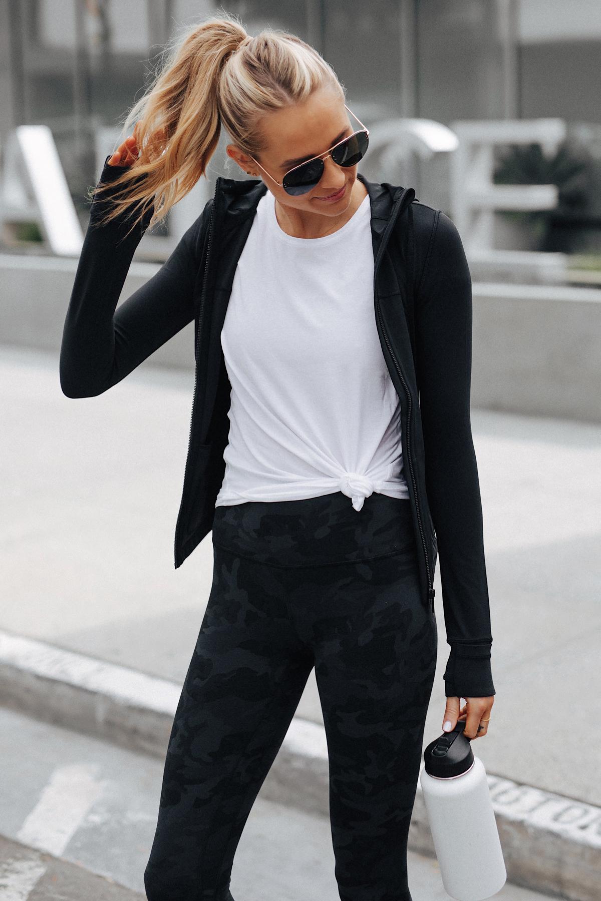 Blonde Woman Wearing Lululemon Align Pants Black Camo Print Lululemon Black Jacket White Top Fashion Jackson San Diego Fashion Blogger Fitness Style