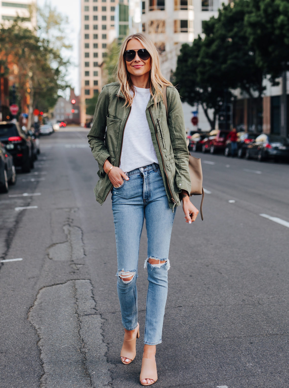 Fashion Jackson Wearing Madewell Green Utility Jacket ATM White Tshirt Reformation Ripped Skinny Jeans Vince Hanna Nude Heeled Mules Featured Image
