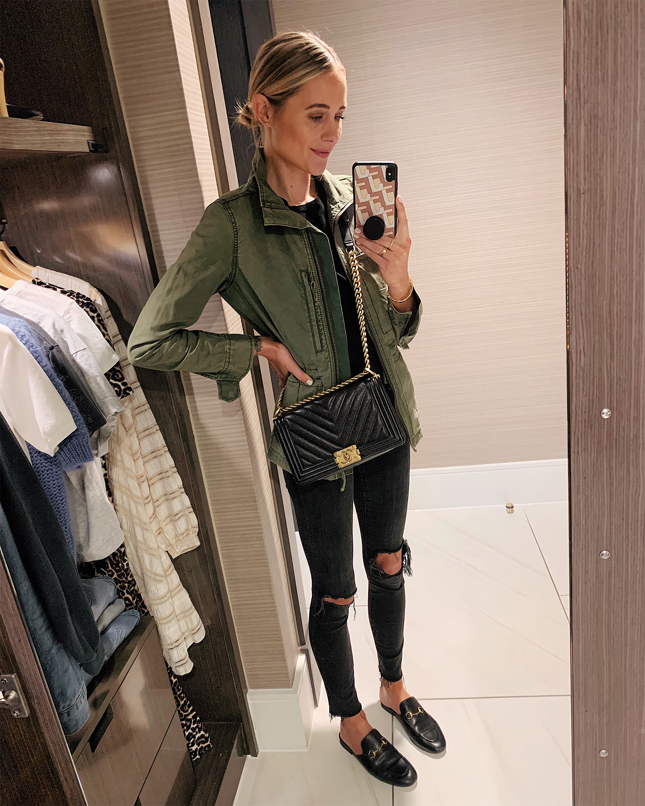 4de145835 Fashion Jackson Wearing Madewell Green Utility Jacket Black Ripped Jeans  Black Gucci Mules Chane Black Boy