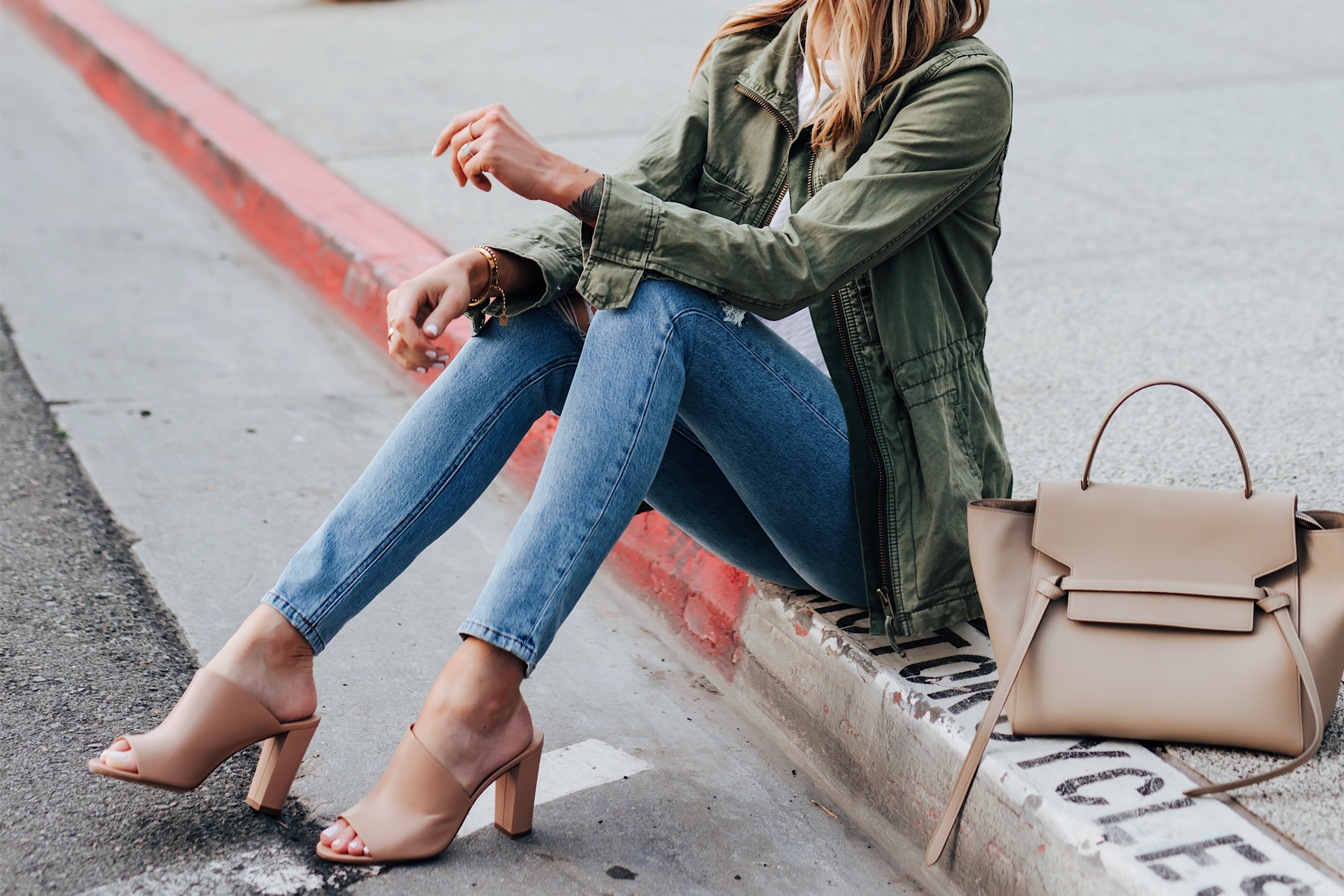 Blonde Woman Wearing Madewell Green Utility Jacket Skinny Jeans Vince Hanna Heeled Mules Nude Celine Mini Belt Bag Fashion Jackson San Diego Fashion Blogger Street Style