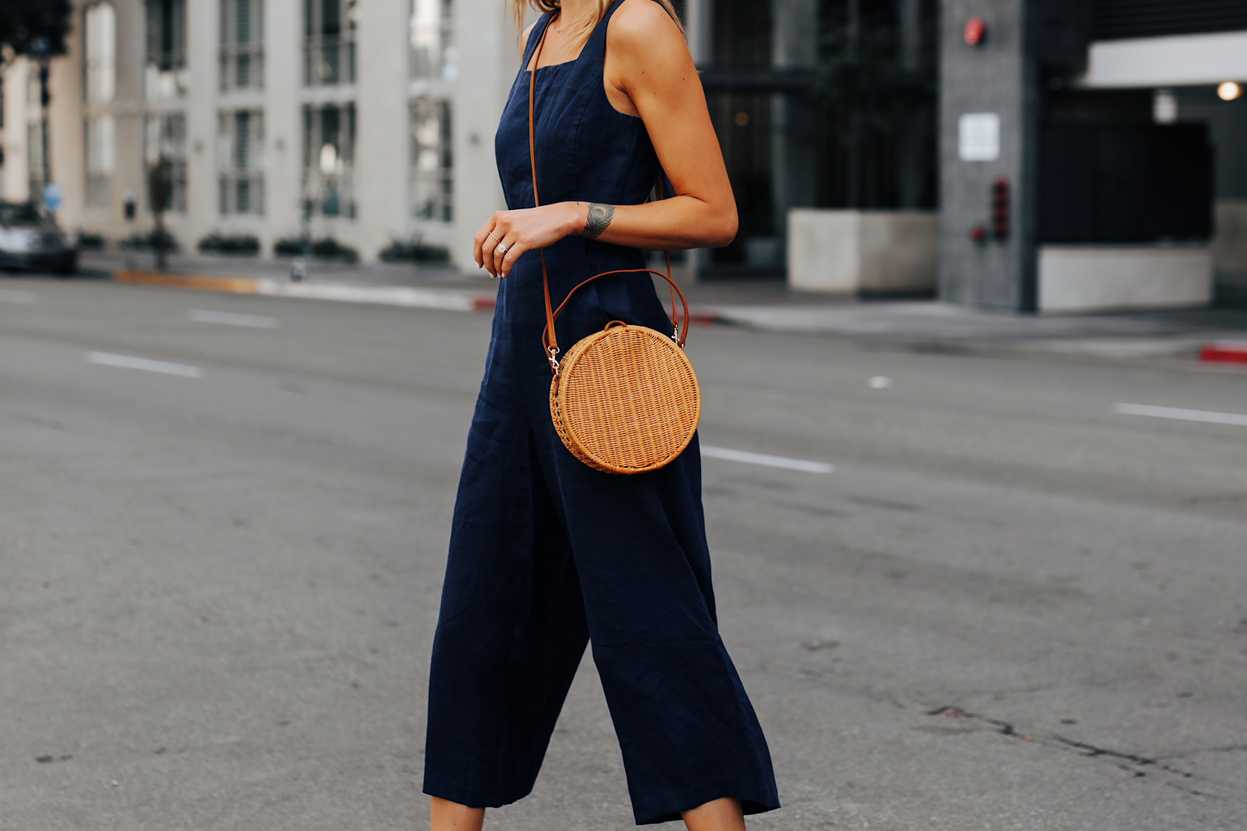 Woman Wearing Navy Jumpsuit Circle Basket Bag Fashion Jackson San Diego Fashion Blogger Street Style
