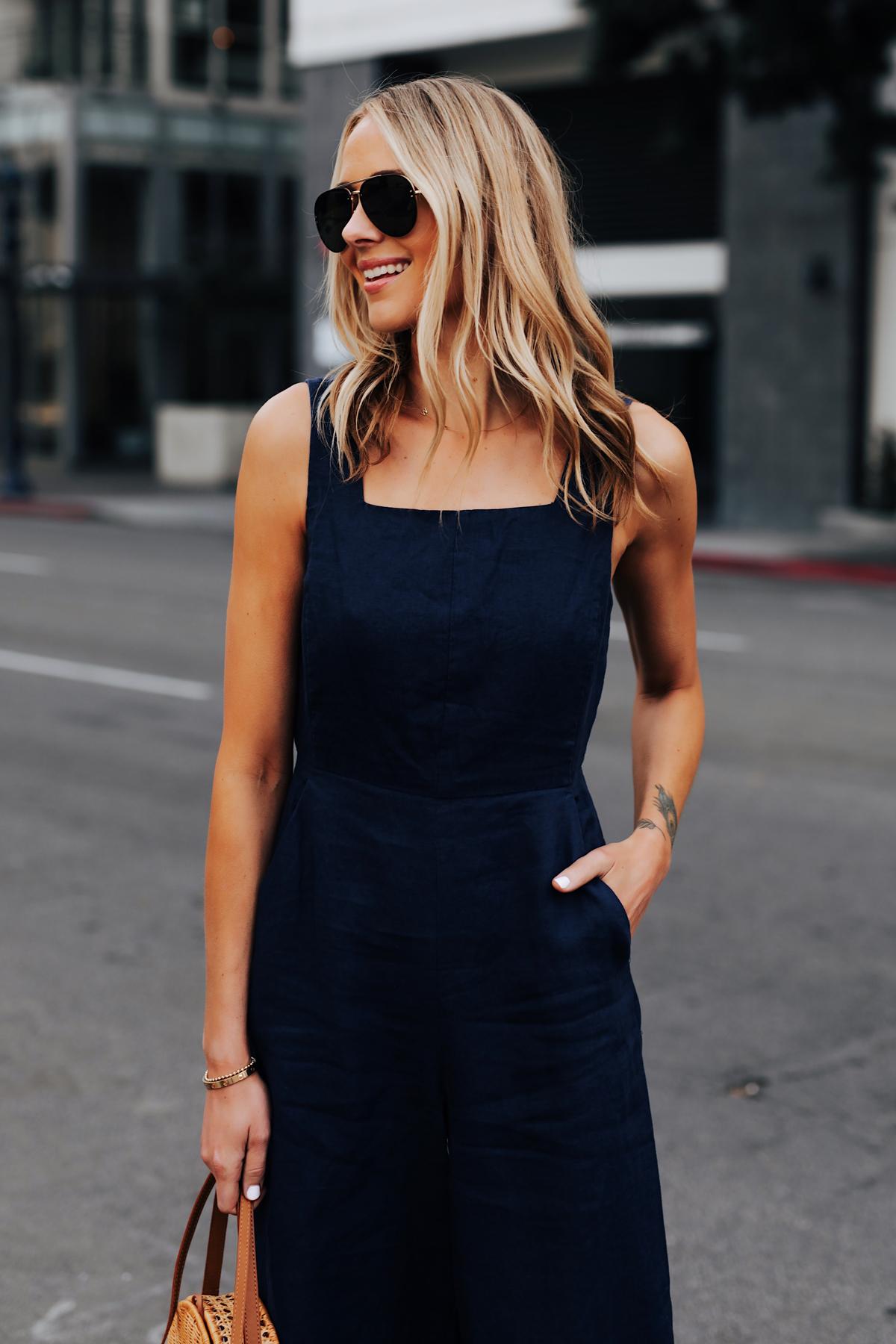 Blonde Woman Wearing Navy Jumpsuit Fashion Jackson San Diego Fashion Blogger Street Style
