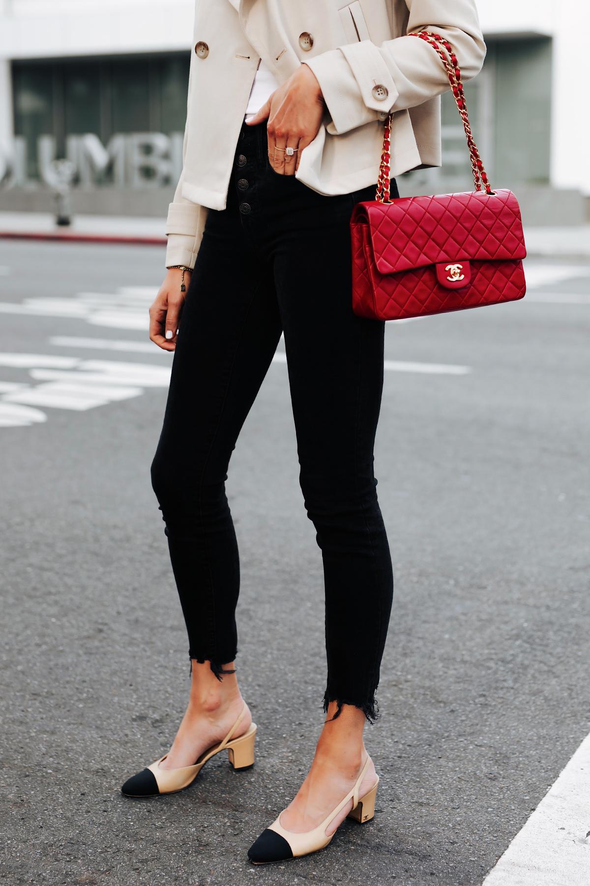 Woman Wearing Trench Coat Black Raw Hem Skinny Jeans Chanel Slingbacks Red Chanel Classic Handbag Fashion Jackson San Diego Fashion Blogger Street Style