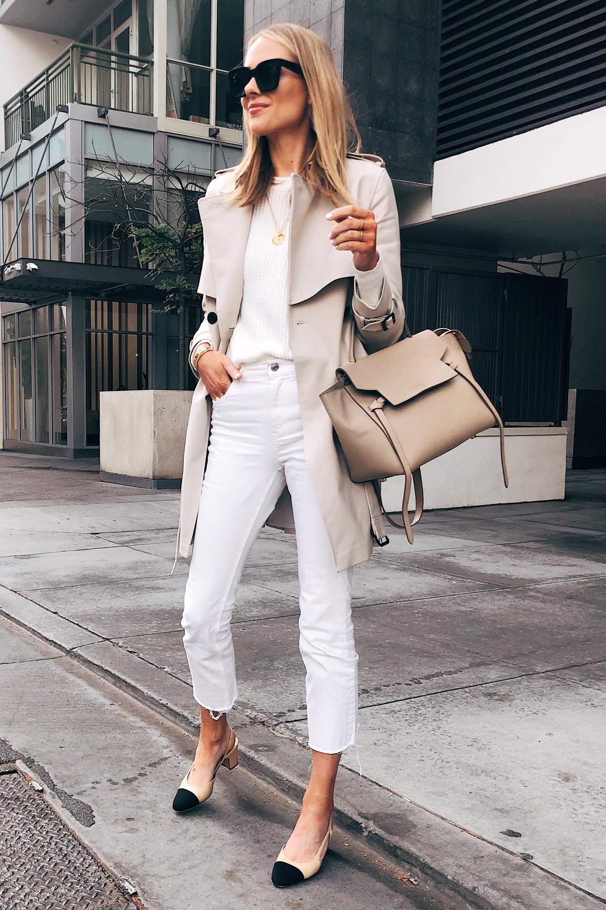 Fashion Jackson Wearing Trench Coat White Sweater White Cropped Jeans Chanel Slingbacks Celine Mini Belt Bag