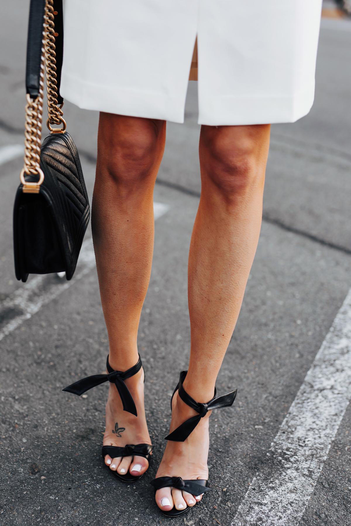 Woman Wearing White Dress Alexandre Birman Black Clarita Sandals Fashion Jackson San Diego Fashion Blogger Street Style