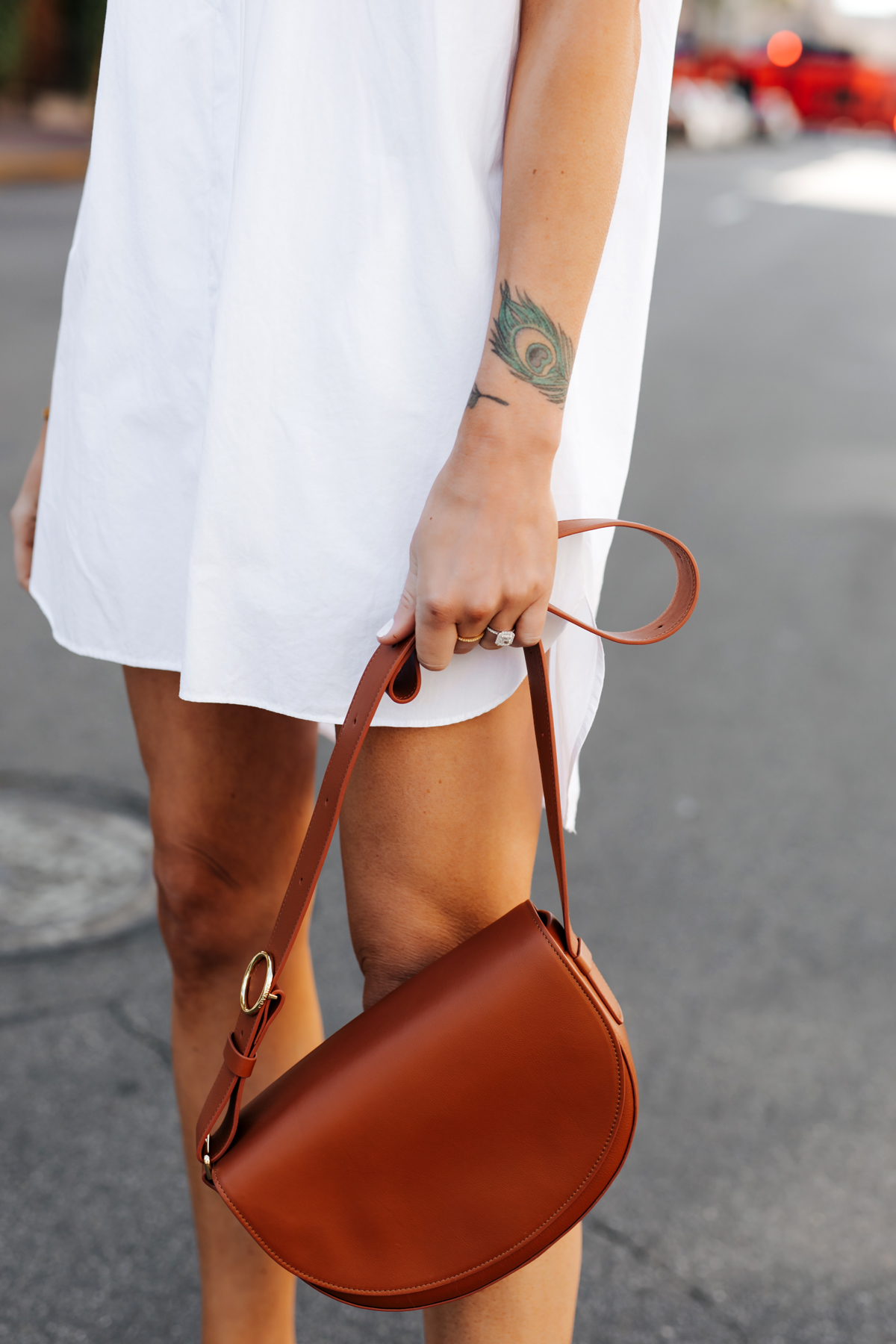 Woman Wearing White Shirtdress Cuyana Half Moon Bag Caramel Fashion Jackson San Diego Fashion Blogger Street Style