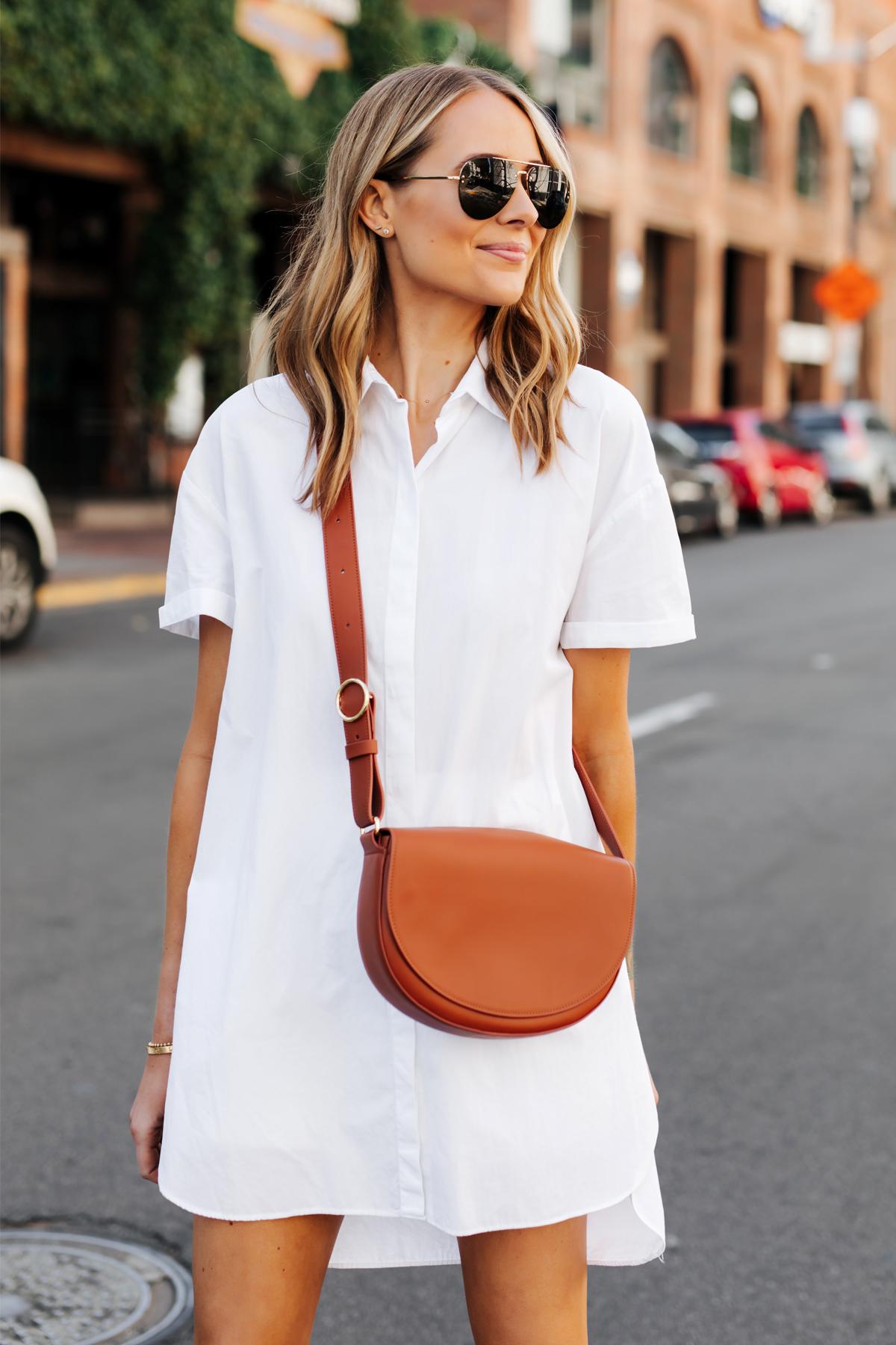 Blonde Woman Wearing White Shirtdress Cuyana Half Moon Bag Caramel Fashion Jackson San Diego Fashion Blogger Street Style