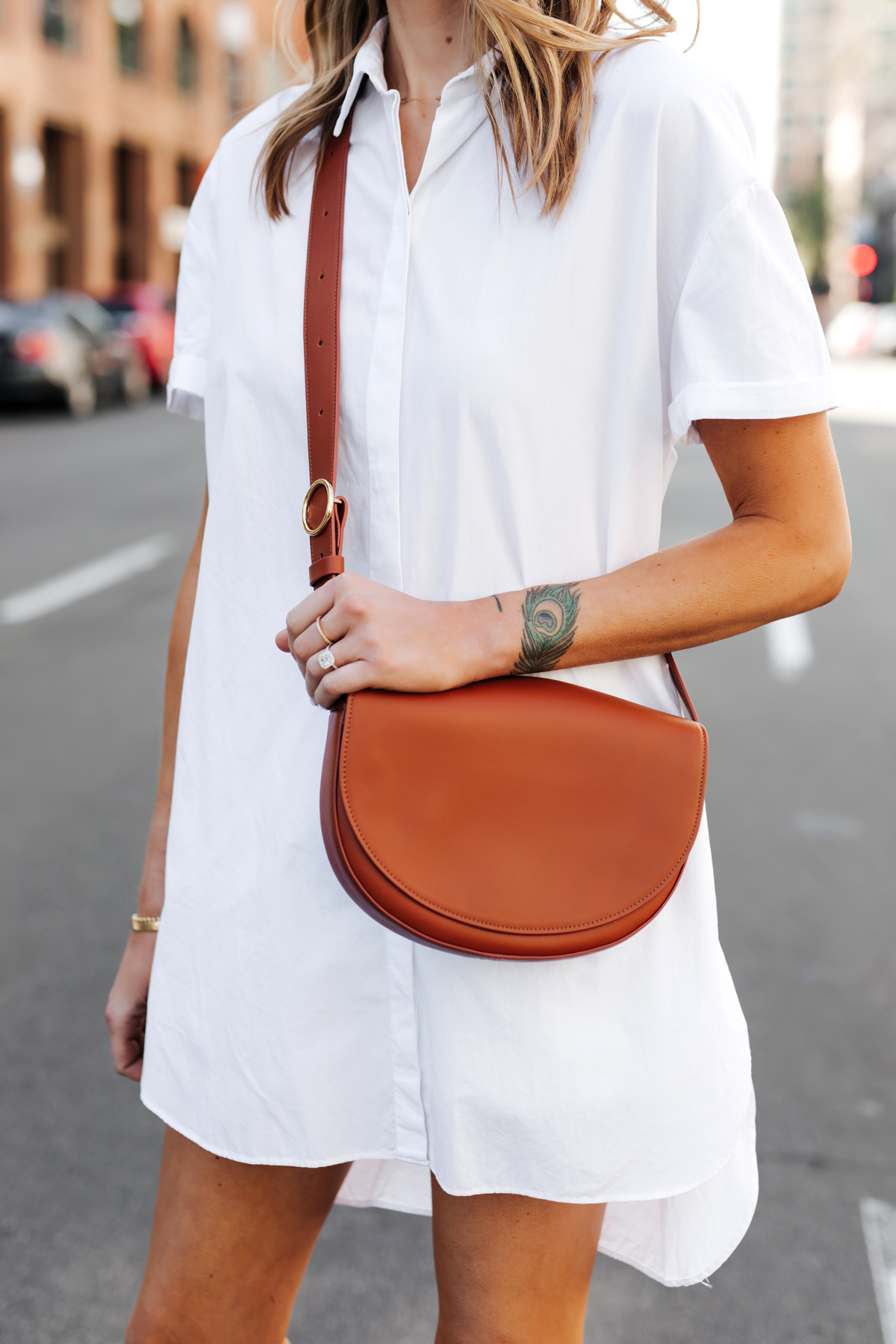 Woman Wearing White Shirtdress Cuyana Half Moon Bag Caramel Fashion Jackson San Diego Fashion Blogger Street Style