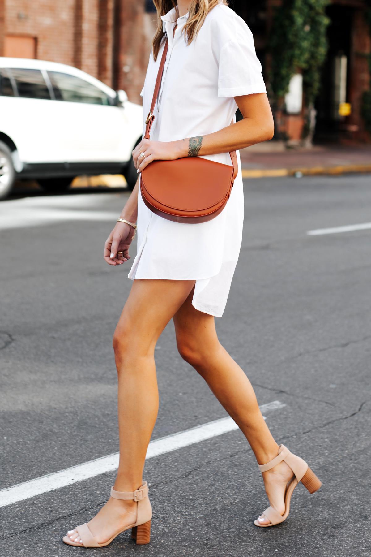 Woman Wearing White Shirtdress Tan Sandals Cuyana Half Moon Bag Caramel Fashion Jackson San Diego Fashion Blogger Street Style