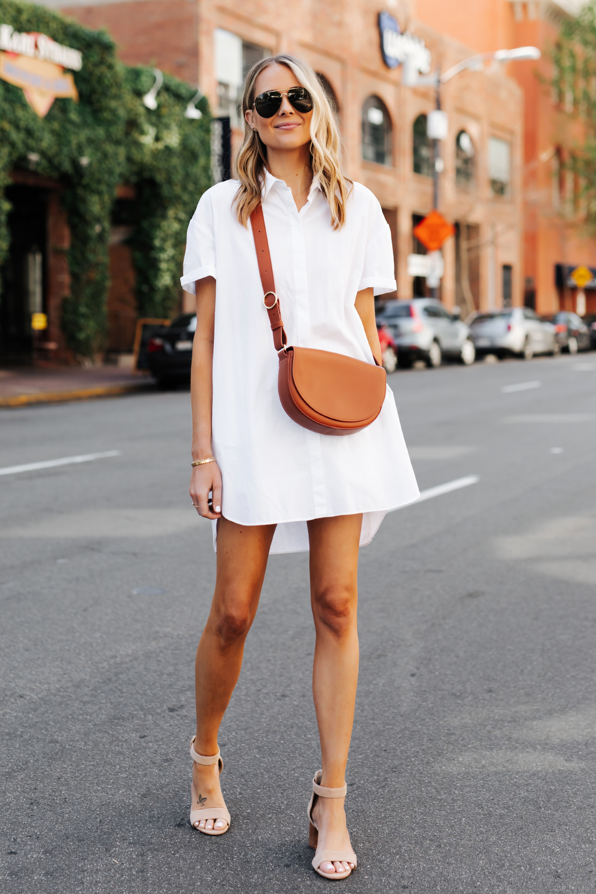 Blonde Woman Wearing White Shirtdress Tan Sandals Cuyana Half Moon Bag Caramel Fashion Jackson San Diego Fashion Blogger Street Style
