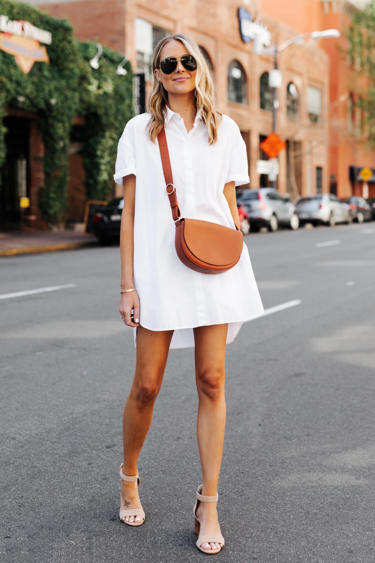 Blonde Woman Wearing White Shirtdress Tan Sandals Cuyana Half Moon Bag Caramel Fashion Jackson San Diego Fashion Blogger Street Style