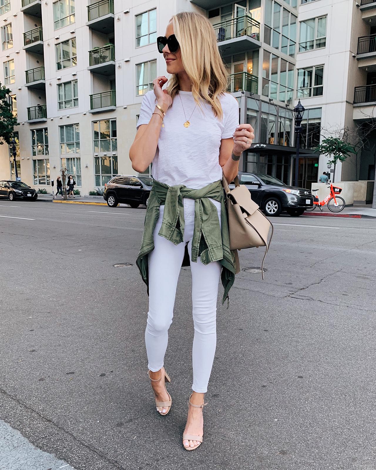 Fashion Jackson Wearing White Tshirt White Skinny Jeans Green Utility Jacket Tan Heeled Sandals