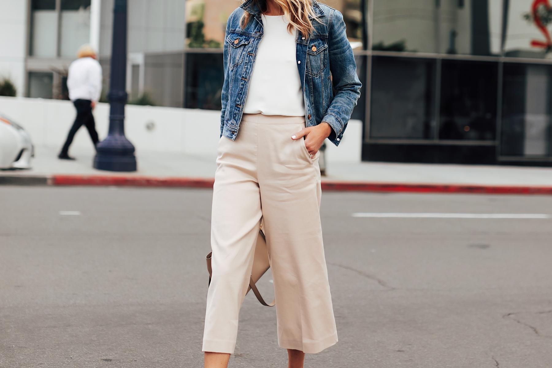 Fashion Jackson Wearing Denim Jacket White Top Khaki Cropped Pants