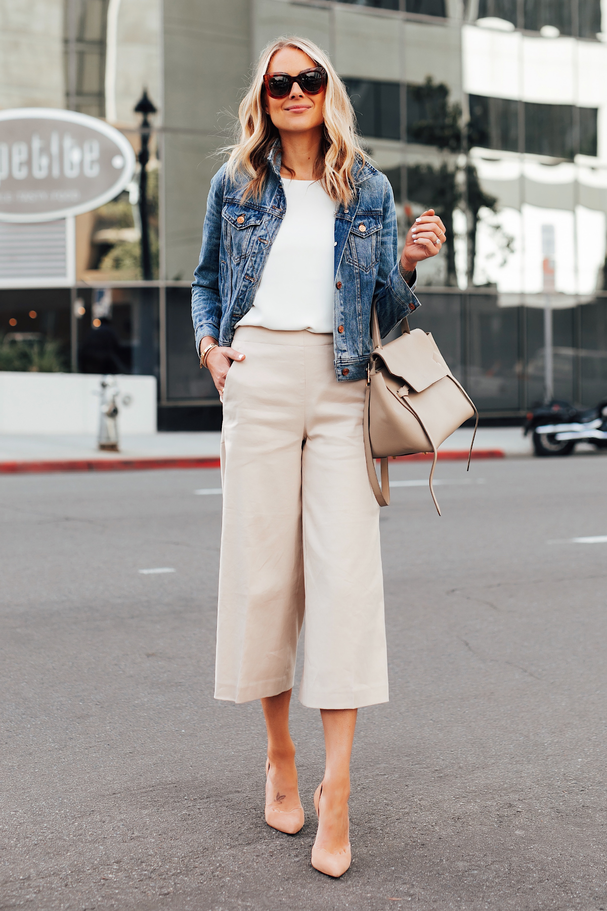 Fashion Jackson Wearing Denim Jacket White Top Ann Taylor Khaki Cropped Pants Nude Heels Celine Mini Belt Bag