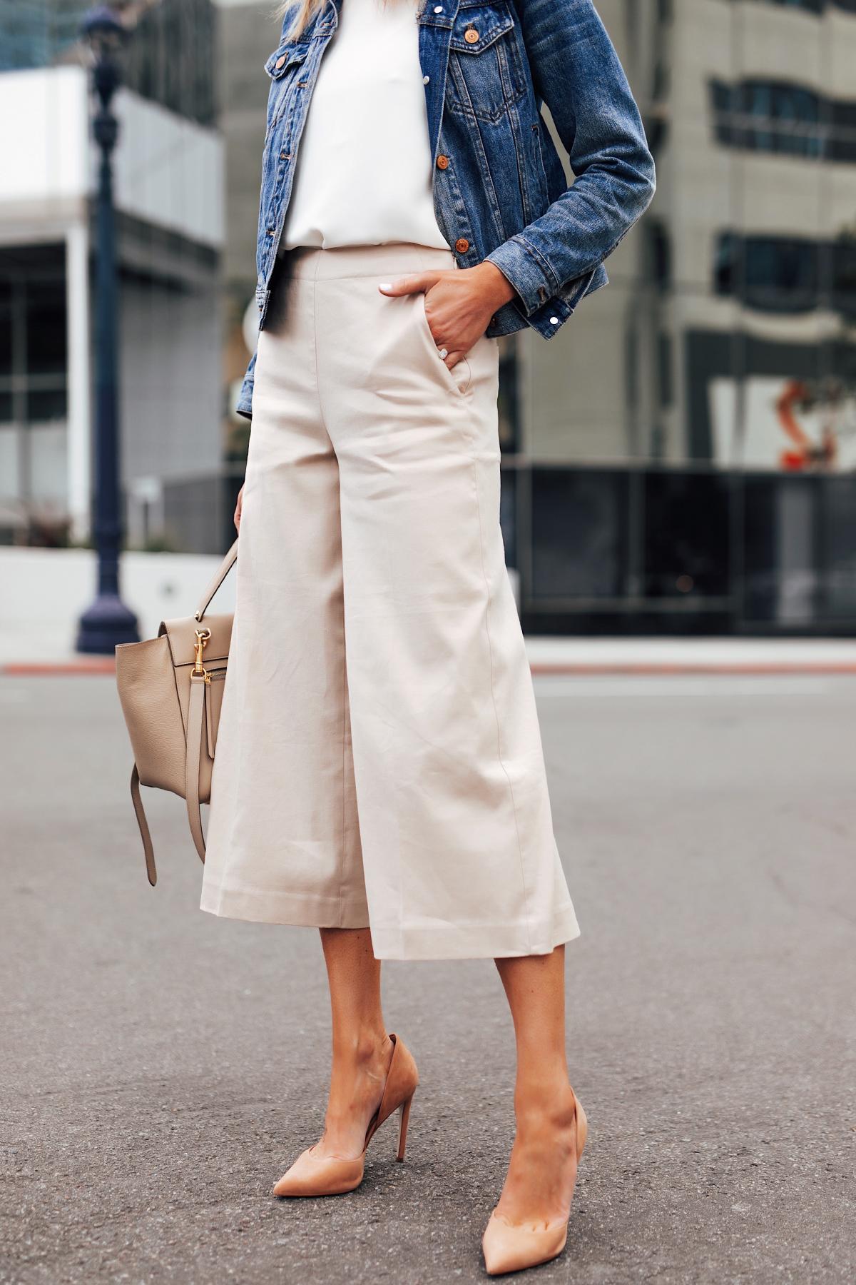 Fashion Jackson Wearing Denim Jacket White Top Khaki Cropped Pants Nude Heels
