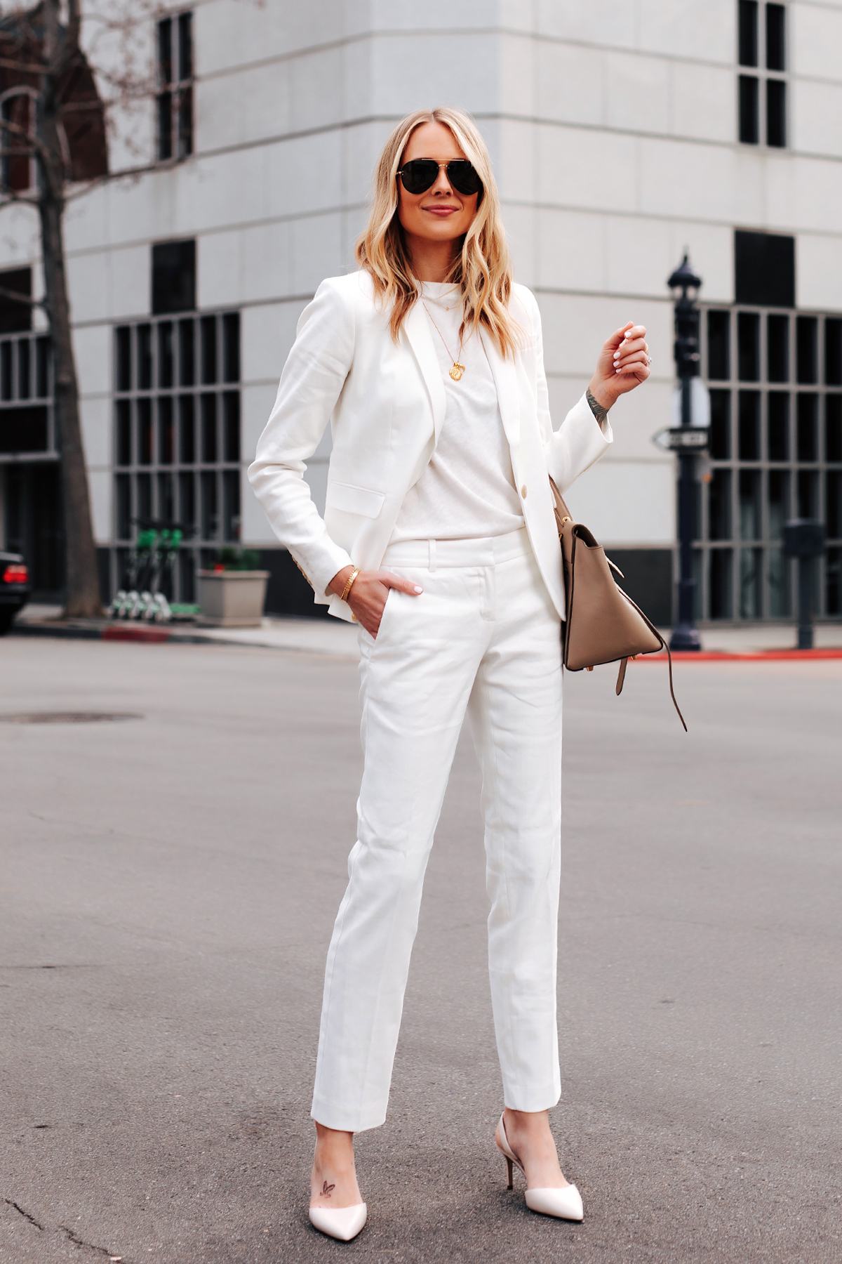 Fashion Jackson Ann Taylor White Blazer White Tshirt Ann Taylor White Pants White Pumps
