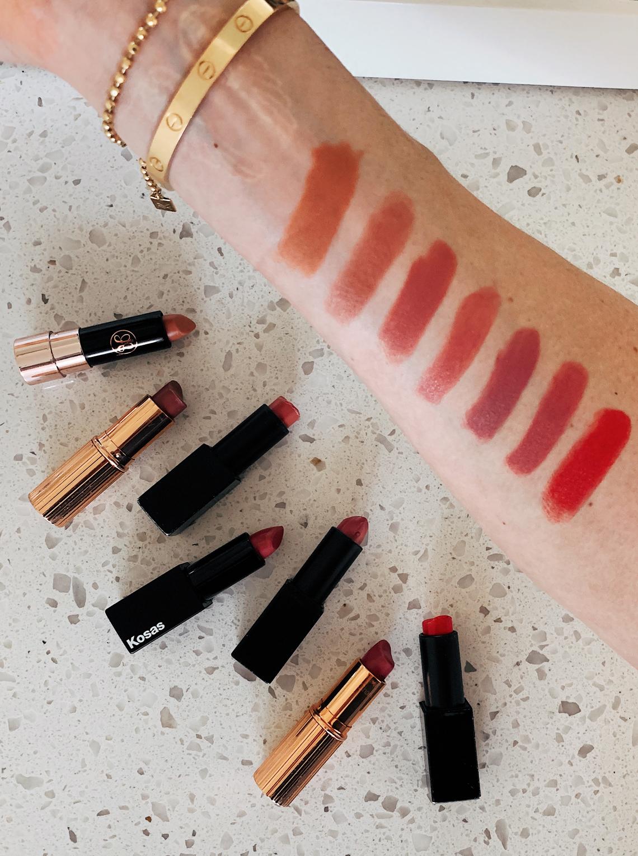Fashion Jackson Lipstick Swatches Charlotte Tilbury Nars Kosas Anastasia