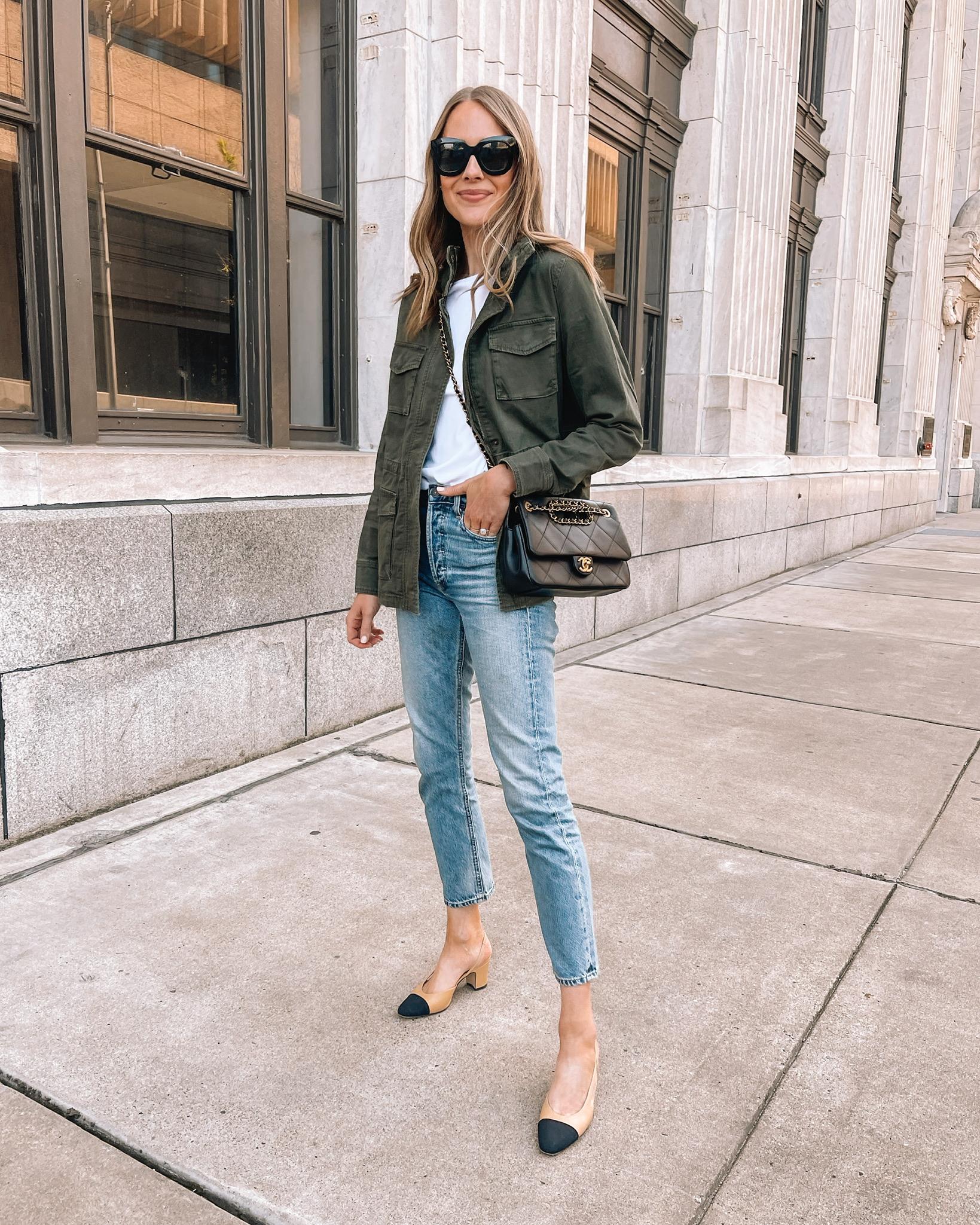Fashion Jackson Wearing Amazon Fashion Green Utility Jacket Citizens of Humanity Jeans Chanel Slingbacks