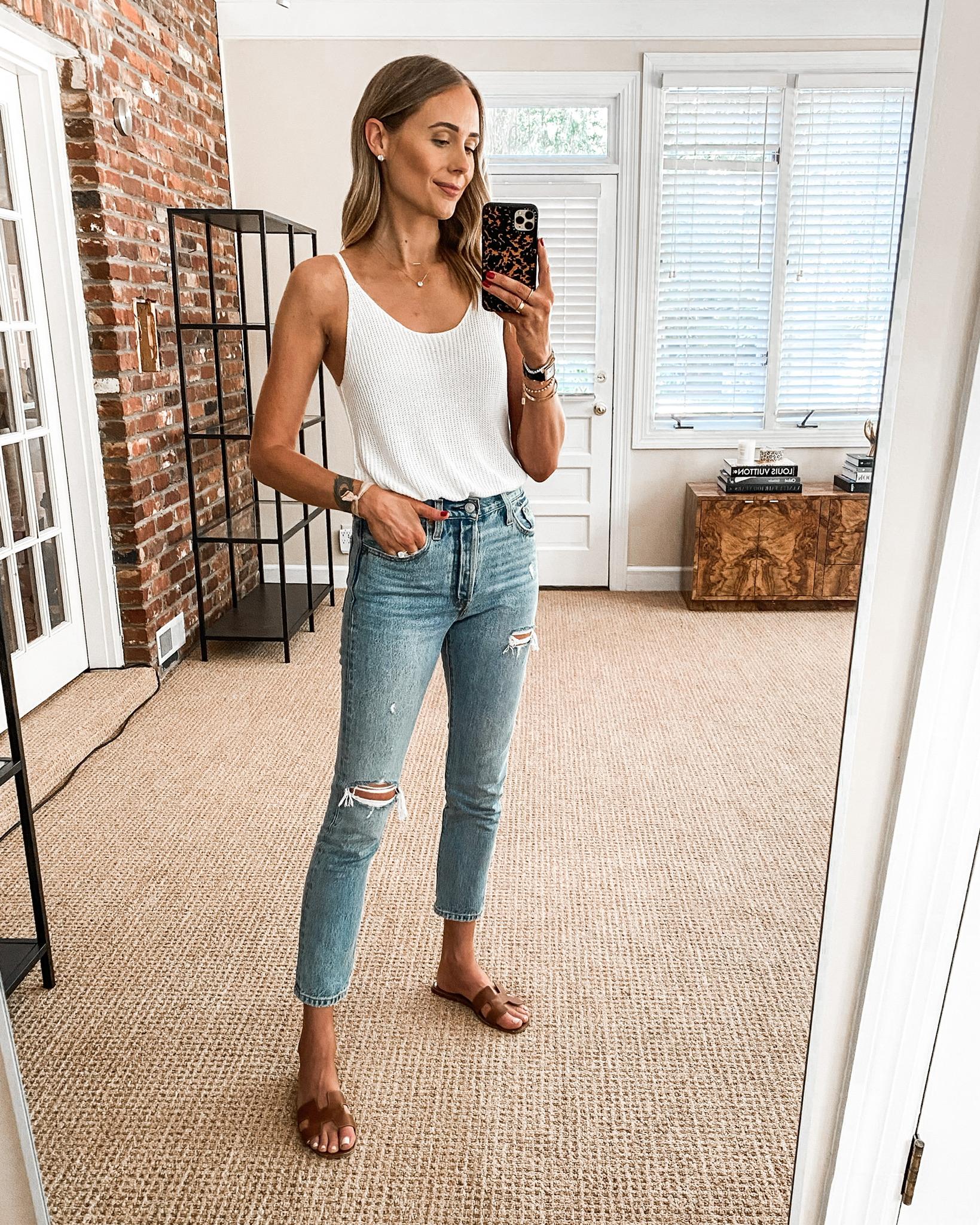 Fashion Jackson Wearing Amazon Fashion White Sweater Tank Levis 501 Ripped Skinny Jeans Tan Hermes Sandals