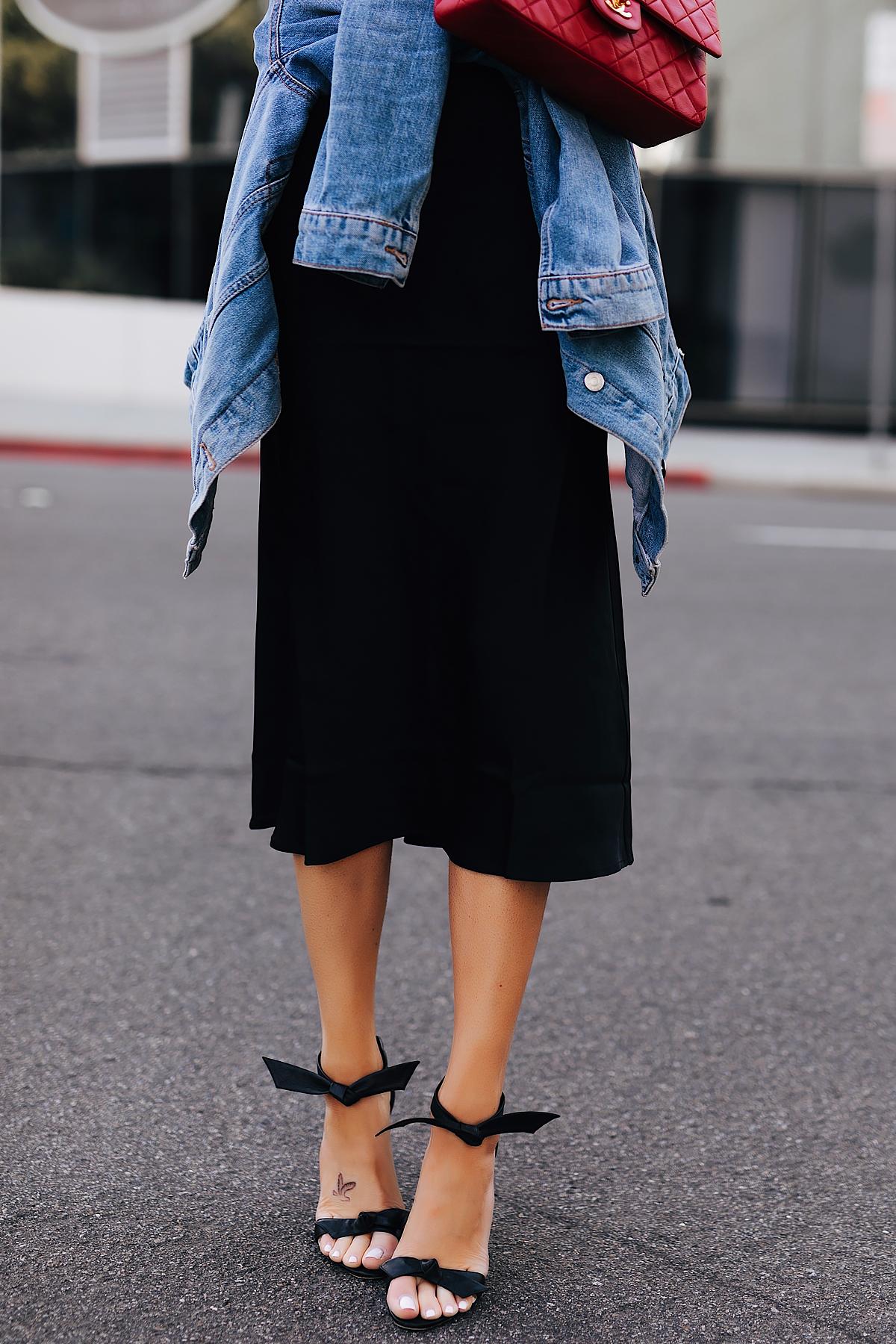 Fashion Jackson Wearing Anine Bing Black Silk Skirt Denim Jacket Alexandre Birman Clarita Sandals Black