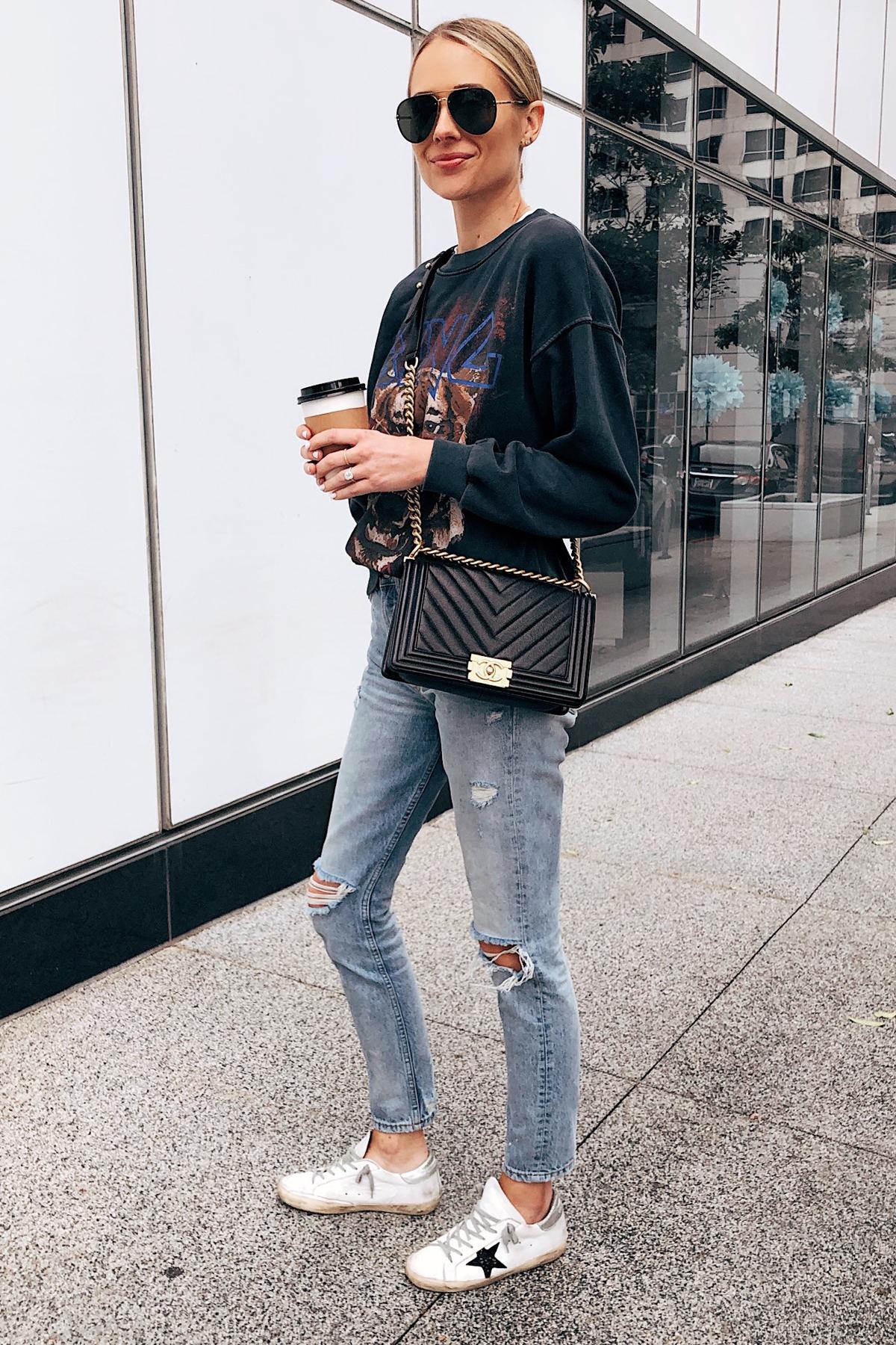 Fashion Jackson Wearing Anine Bing Sweatshirt Ripped Jeans Chanel Boy Bag Golden Goose Sneakers